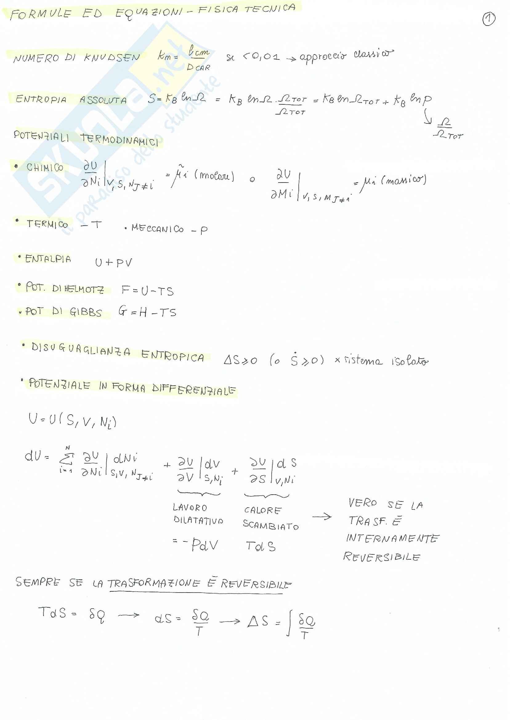 Fisica Tecnica - formulario + esercizi + risposte a domande di teoria