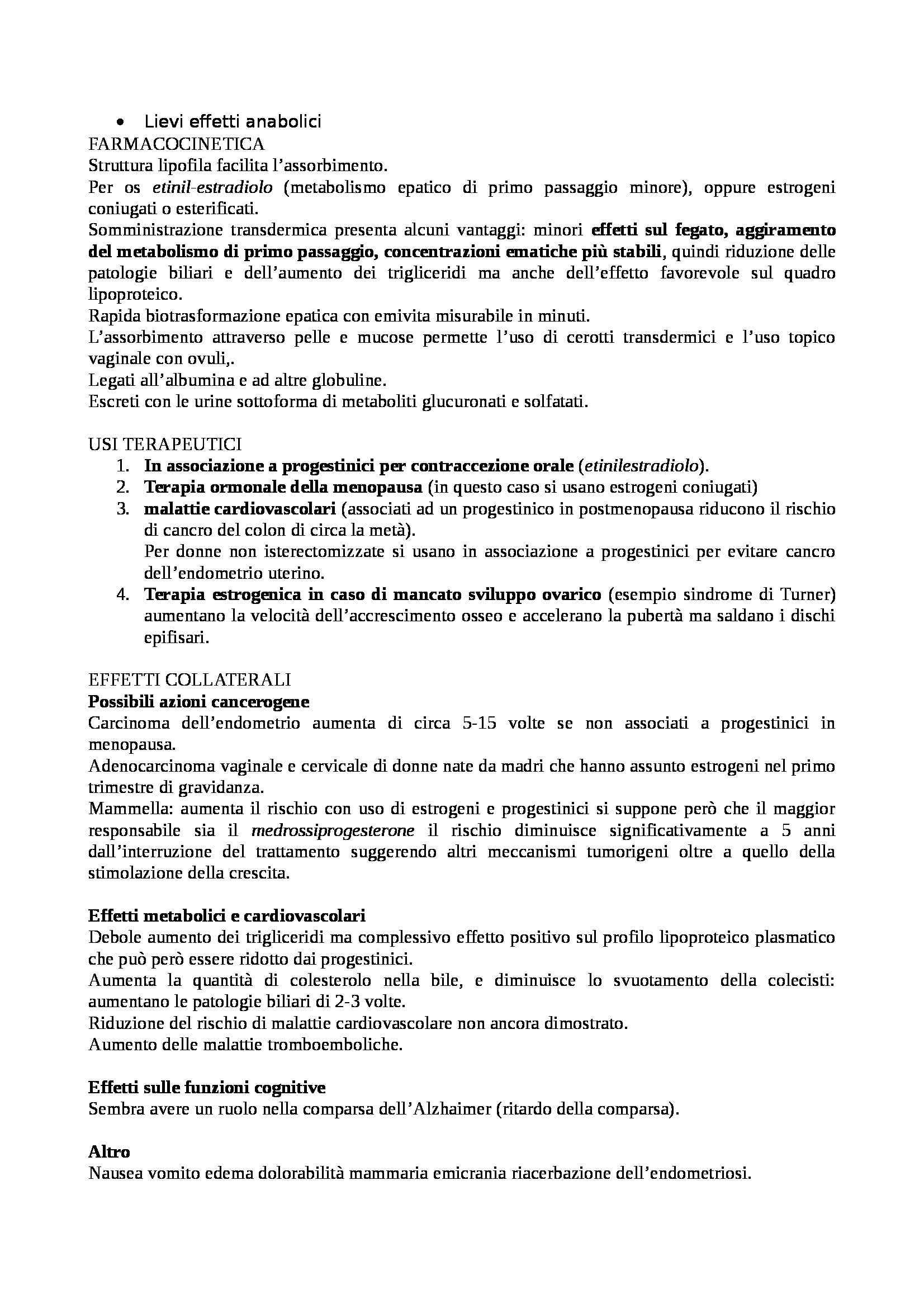 Farmacologia e tossicologia - schema sugli anticoncezionali Pag. 2