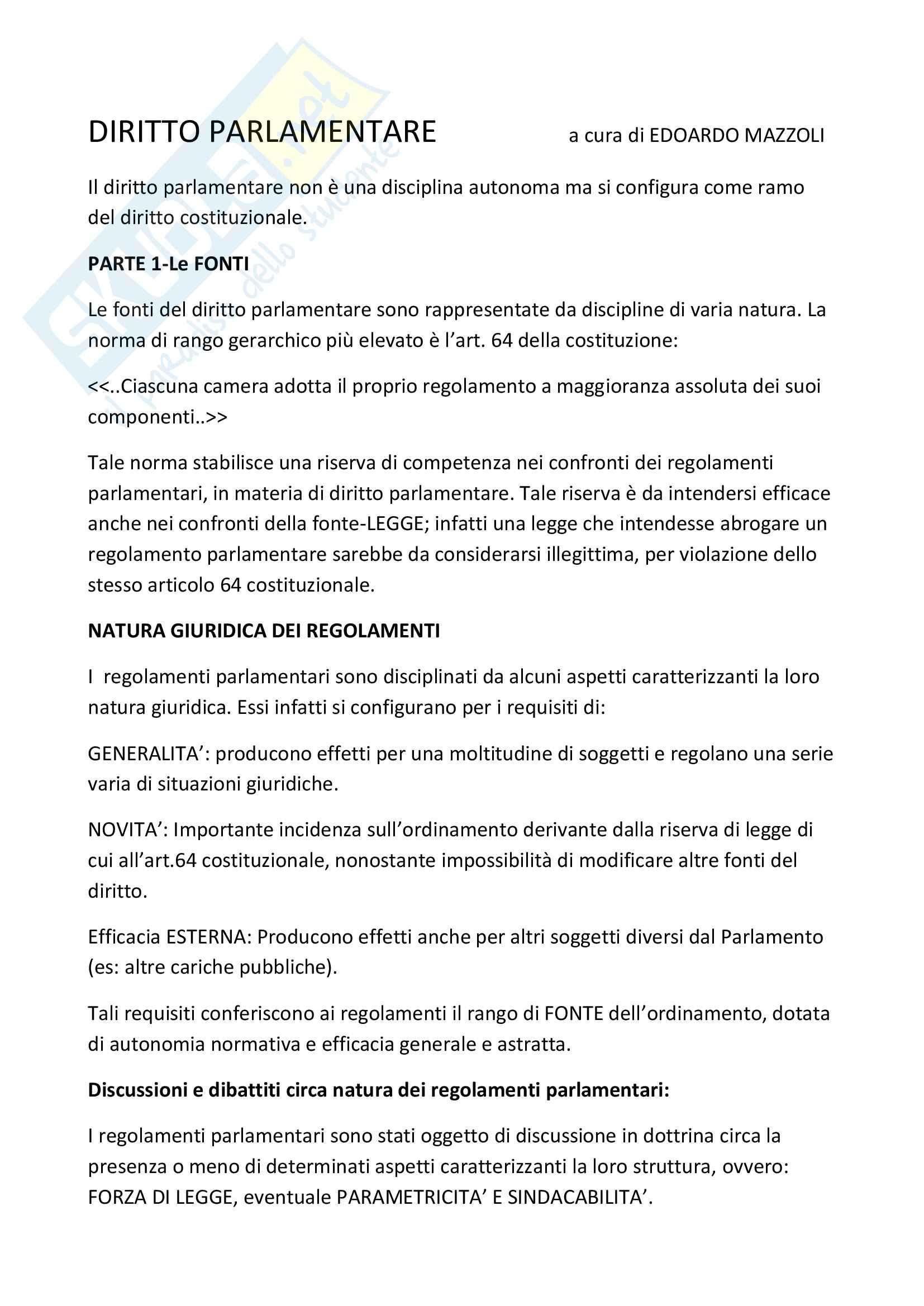 Riassunto esame Diritto parlamentare, prof. Ruotolo, libro consigliato Diritto parlamentare, Cicconetti