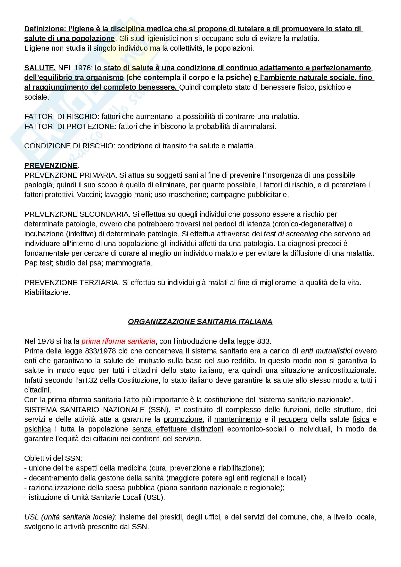 Riassunto esame Igiene, prof. Carmela Protano, libro consigliato Igiene