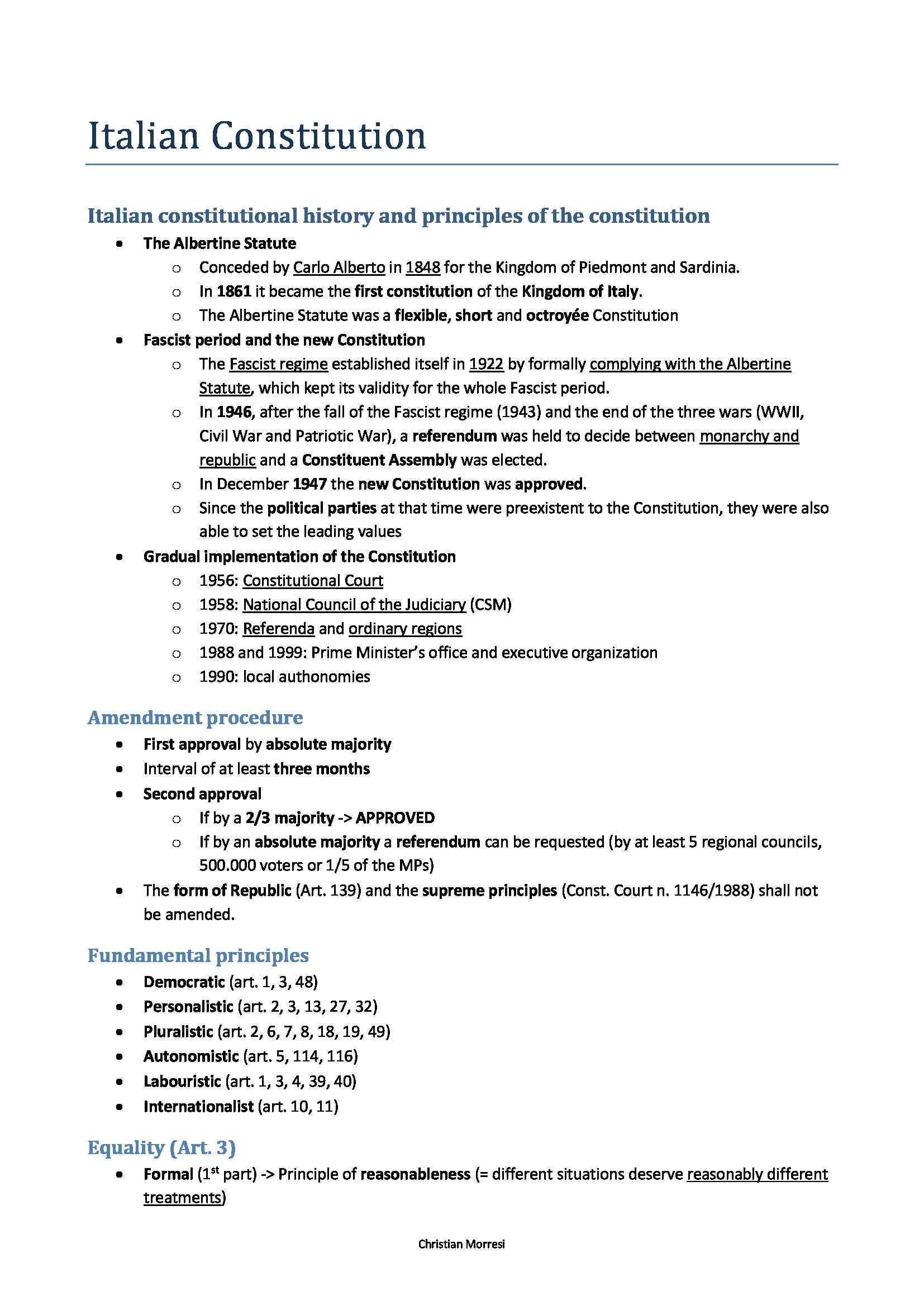 Public Law - Italian Constitution