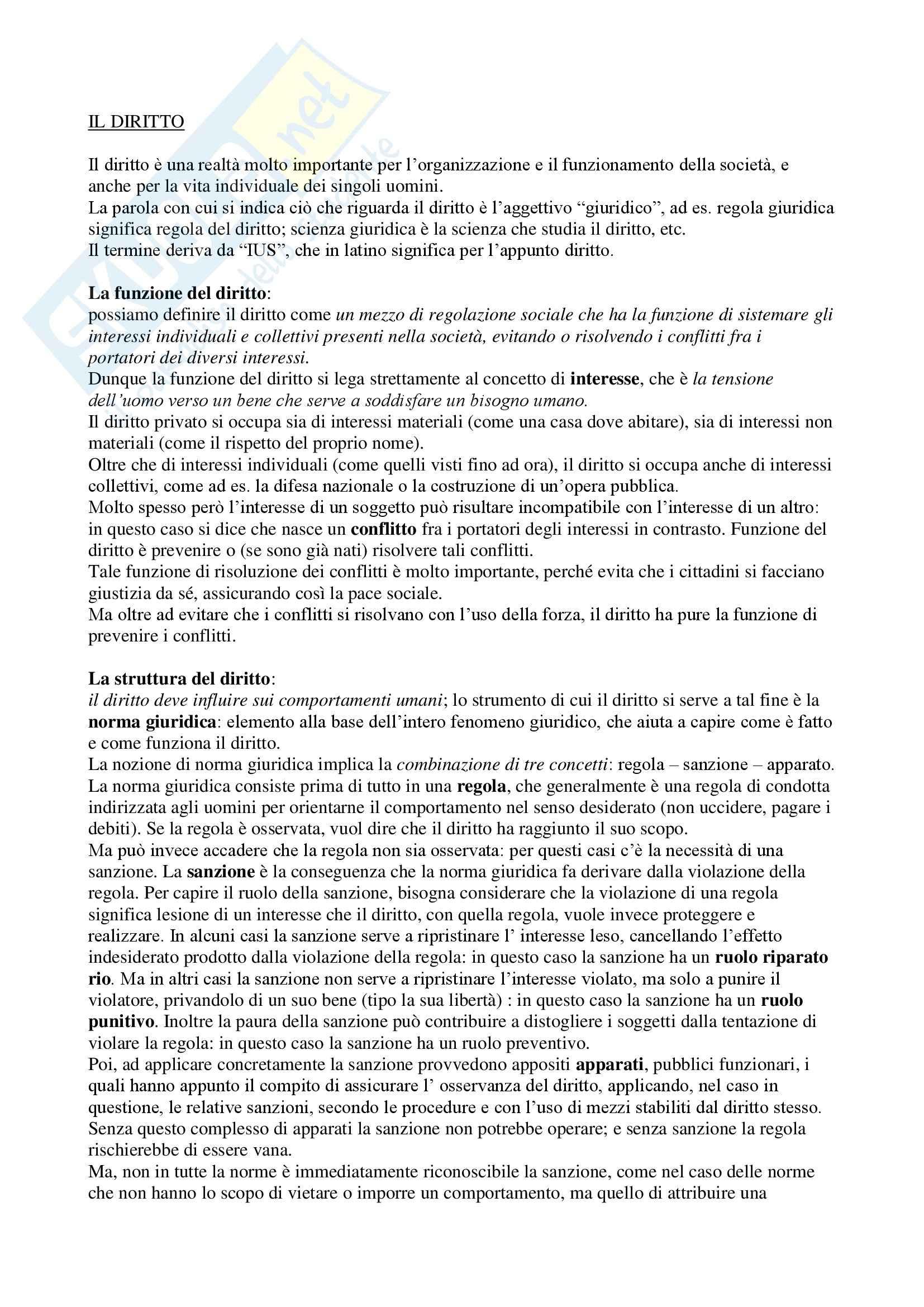 Istituzioni di Diritto privato, Roppo - Riassunto esame, prof. Turco
