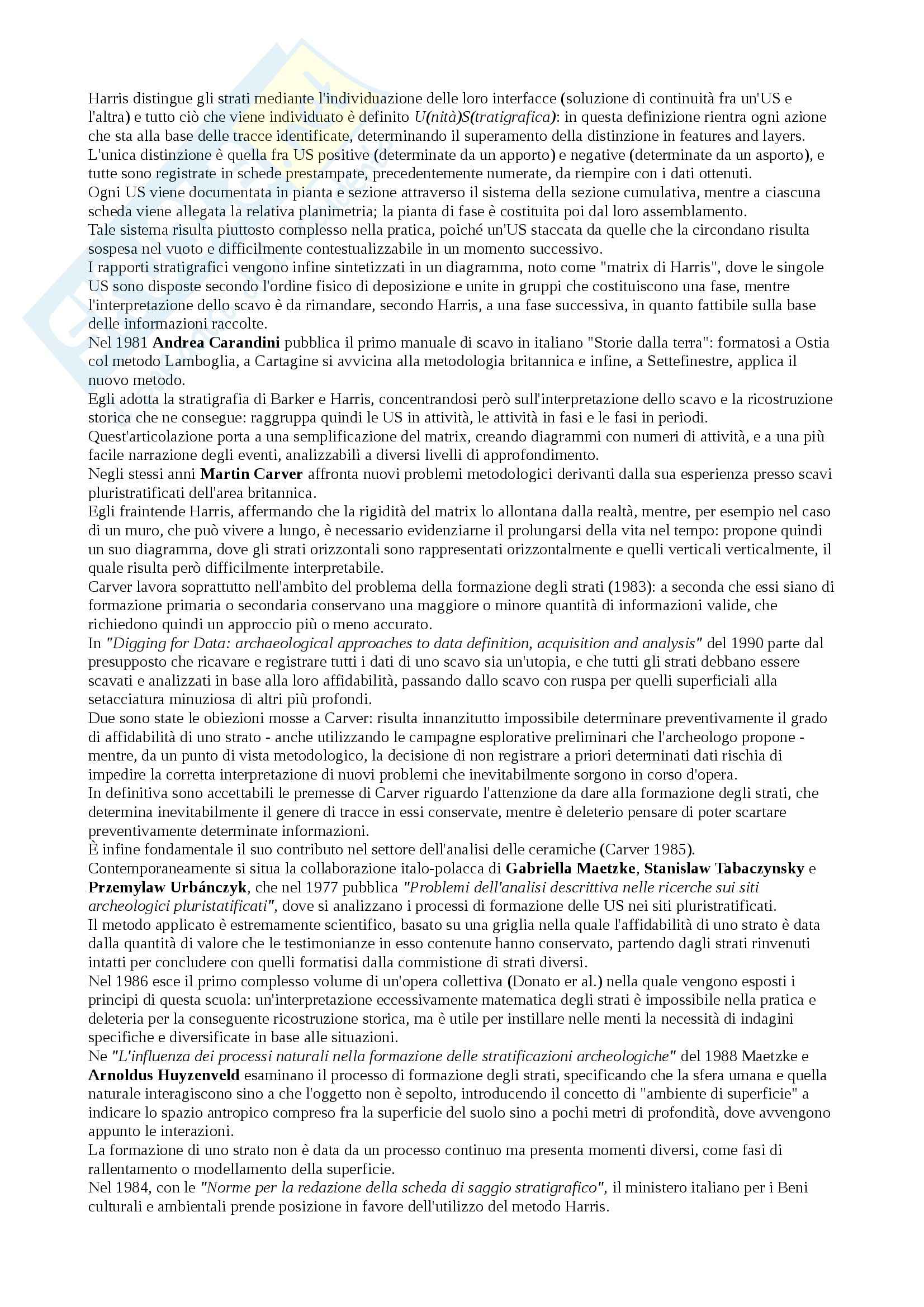Riassunto esame Metodi e strategie dello scavo archeologico, prof. Martorelli, libro consigliato Tronchetti Pag. 2