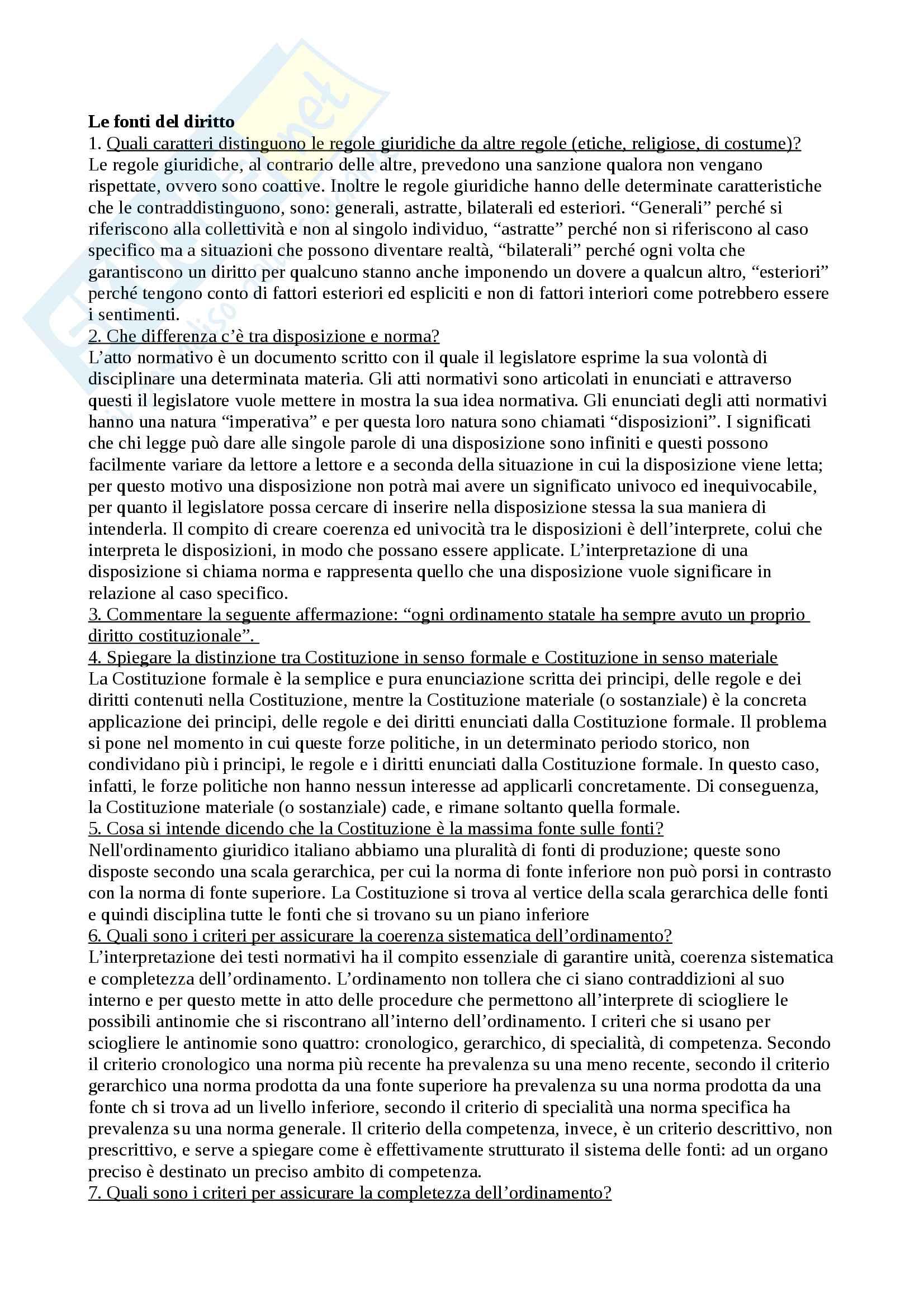 Domande & Risposte Diritto Pubblico - Sergio Gerotto - Unipd