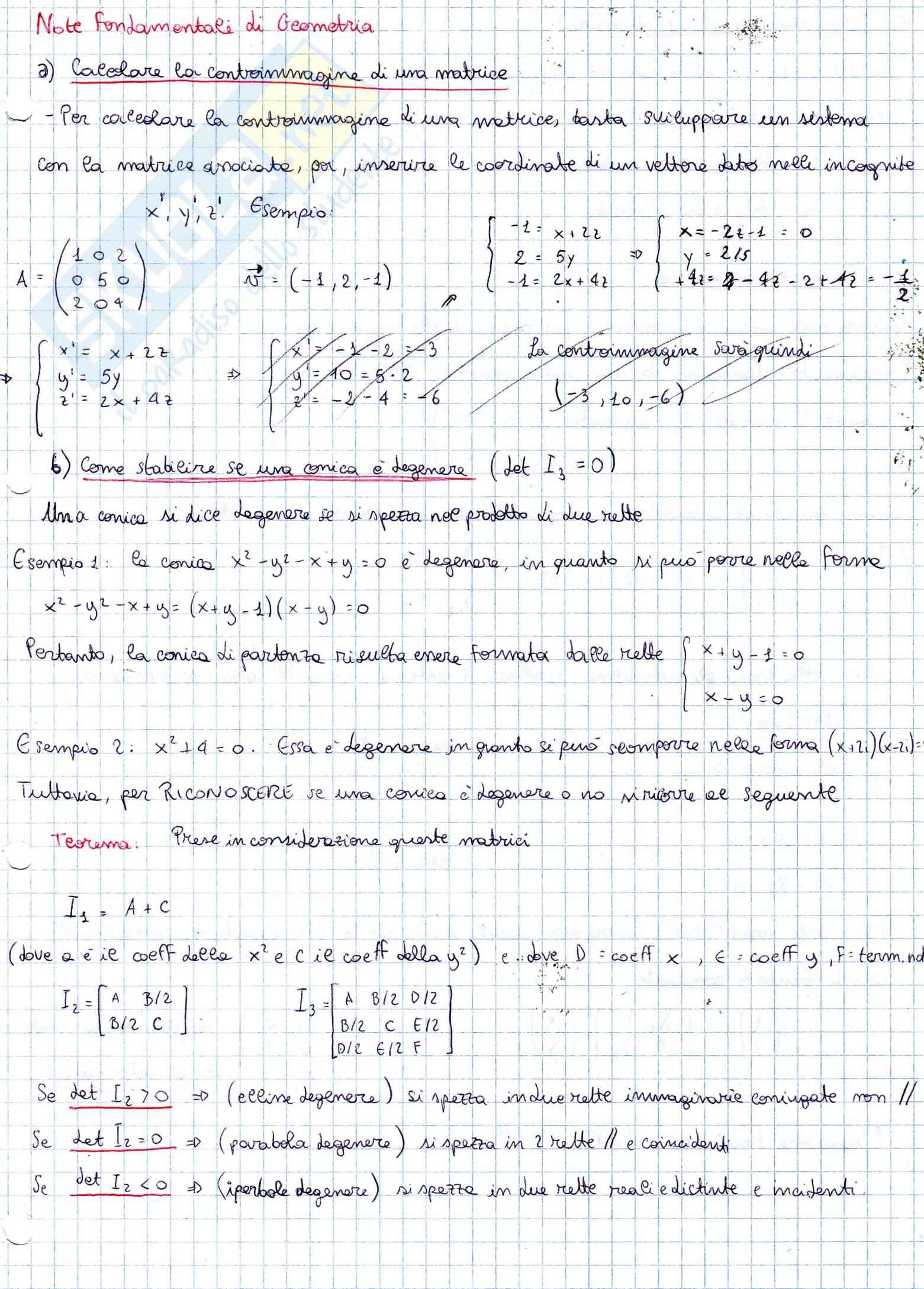 Geometria e algebra lineare - calcorale la controimmagine di una matrice