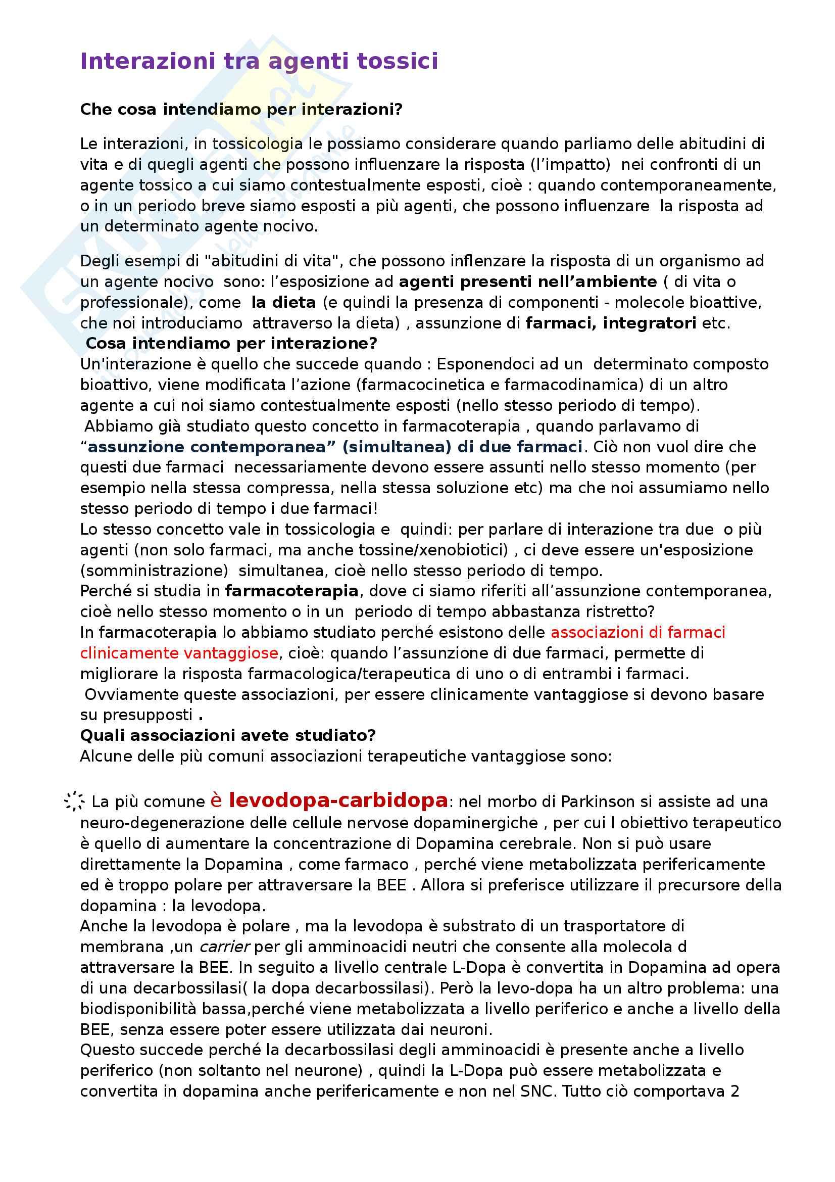 Appunti di tossicologia: Interazioni tra agenti tossici. Esempi di associazioni terapeutiche utili in farmacologia