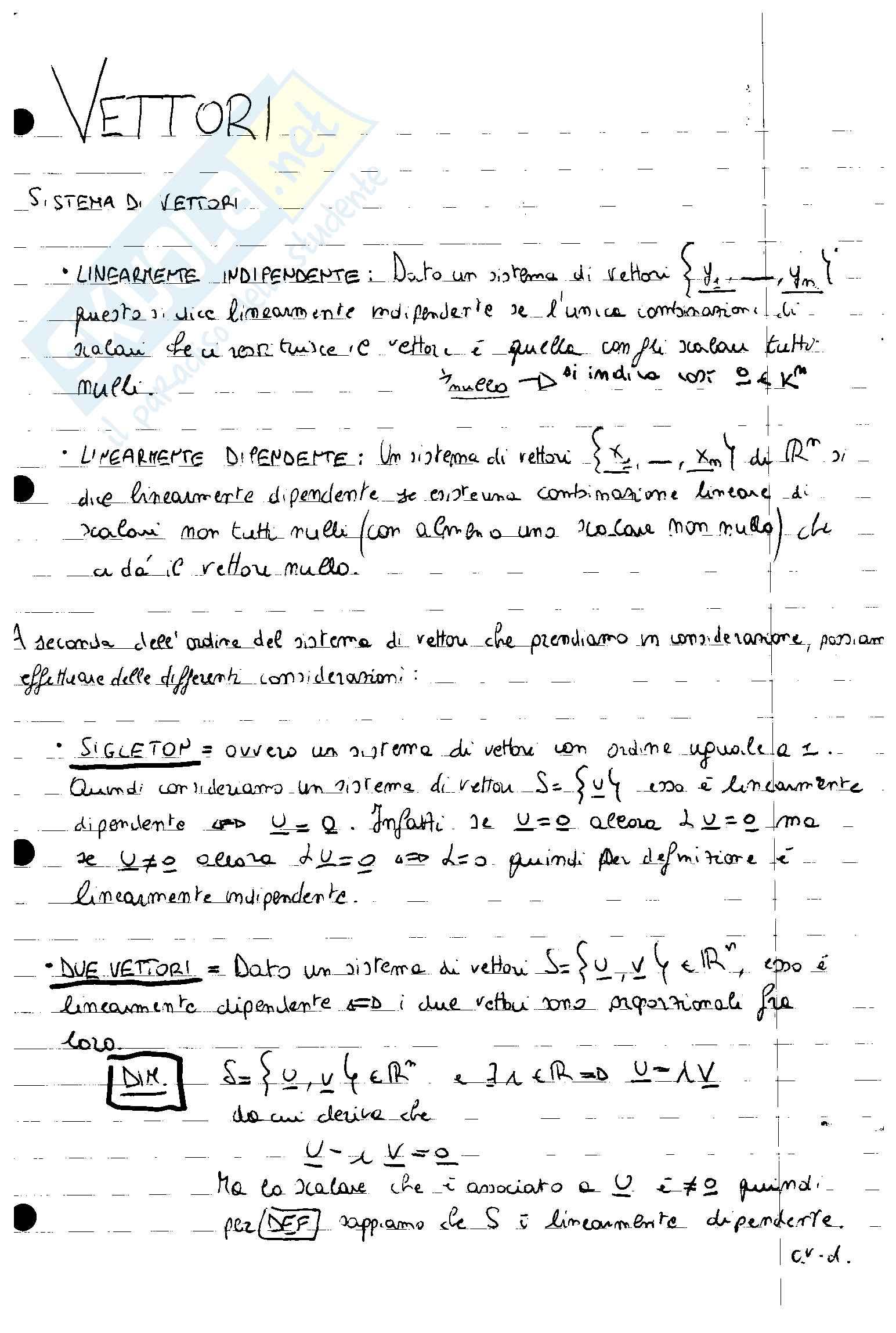 Appunti Teorici di Algebra e Geometria 9 CFU