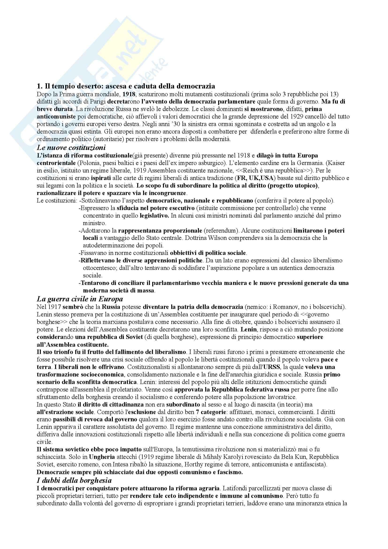 Riassunto esame storia contemporanea, prof. Tolomelli, libro consigliato Le ombre d'Europa, Mazower