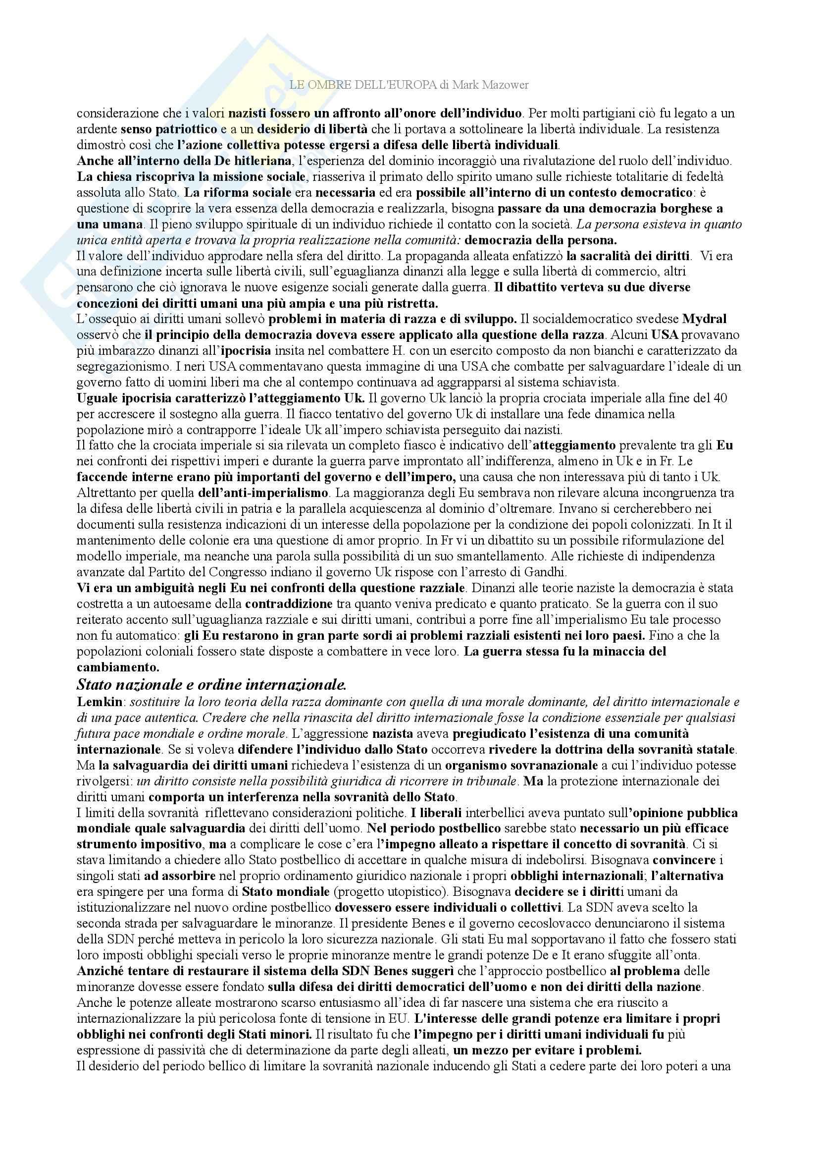 Riassunto esame storia contemporanea, prof. Tolomelli, libro consigliato Le ombre d'Europa, Mazower Pag. 21