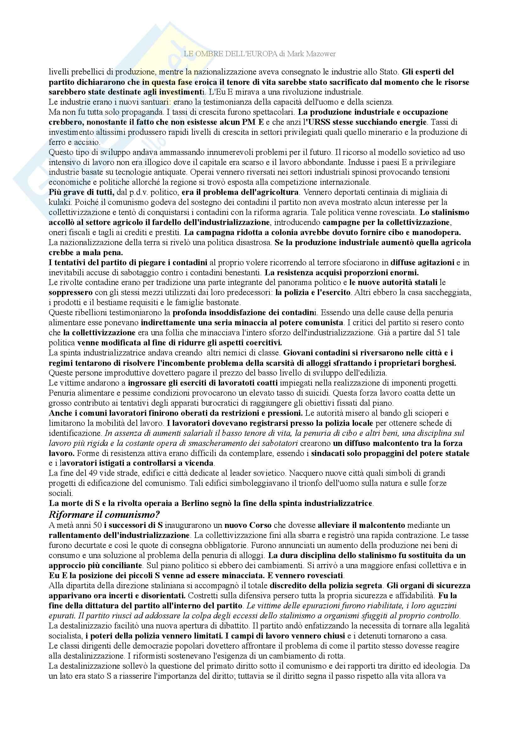 Riassunto esame storia contemporanea, prof. Tolomelli, libro consigliato Le ombre d'Europa, Mazower Pag. 31
