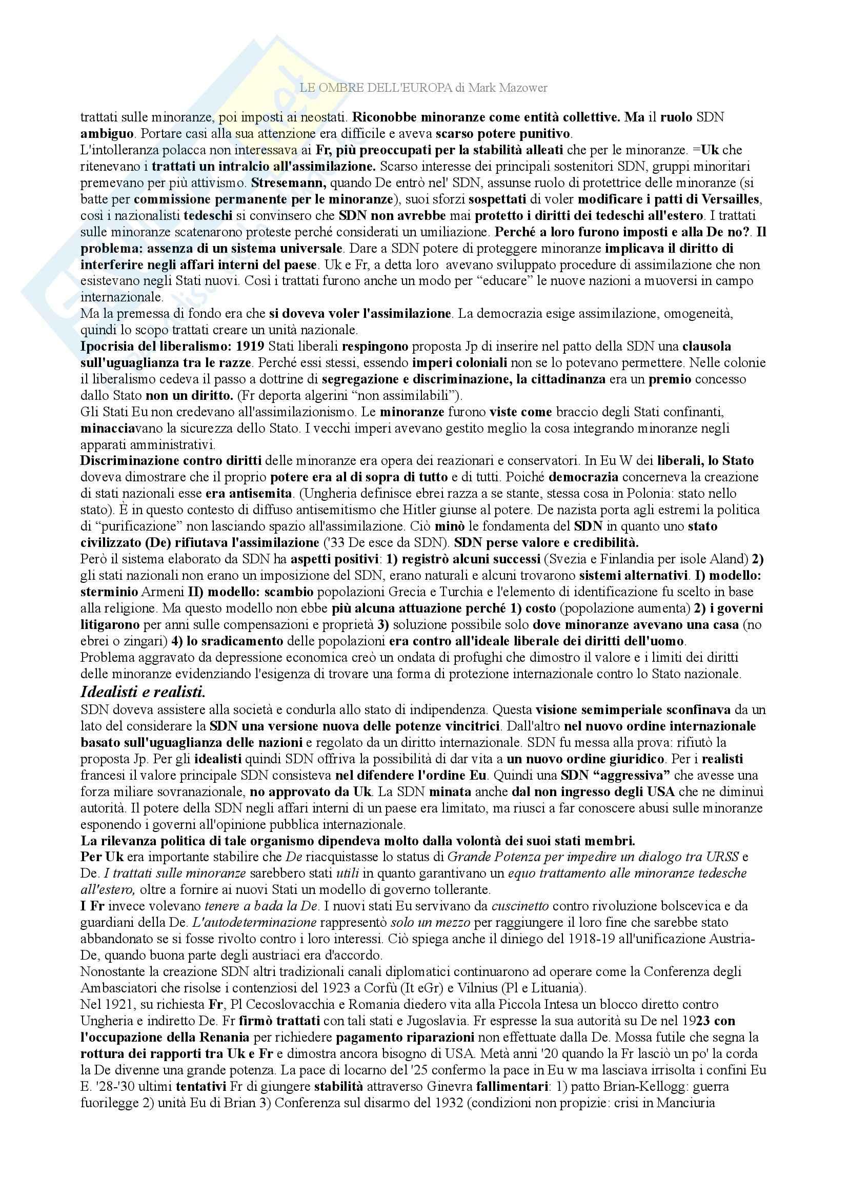 Riassunto esame storia contemporanea, prof. Tolomelli, libro consigliato Le ombre d'Europa, Mazower Pag. 6