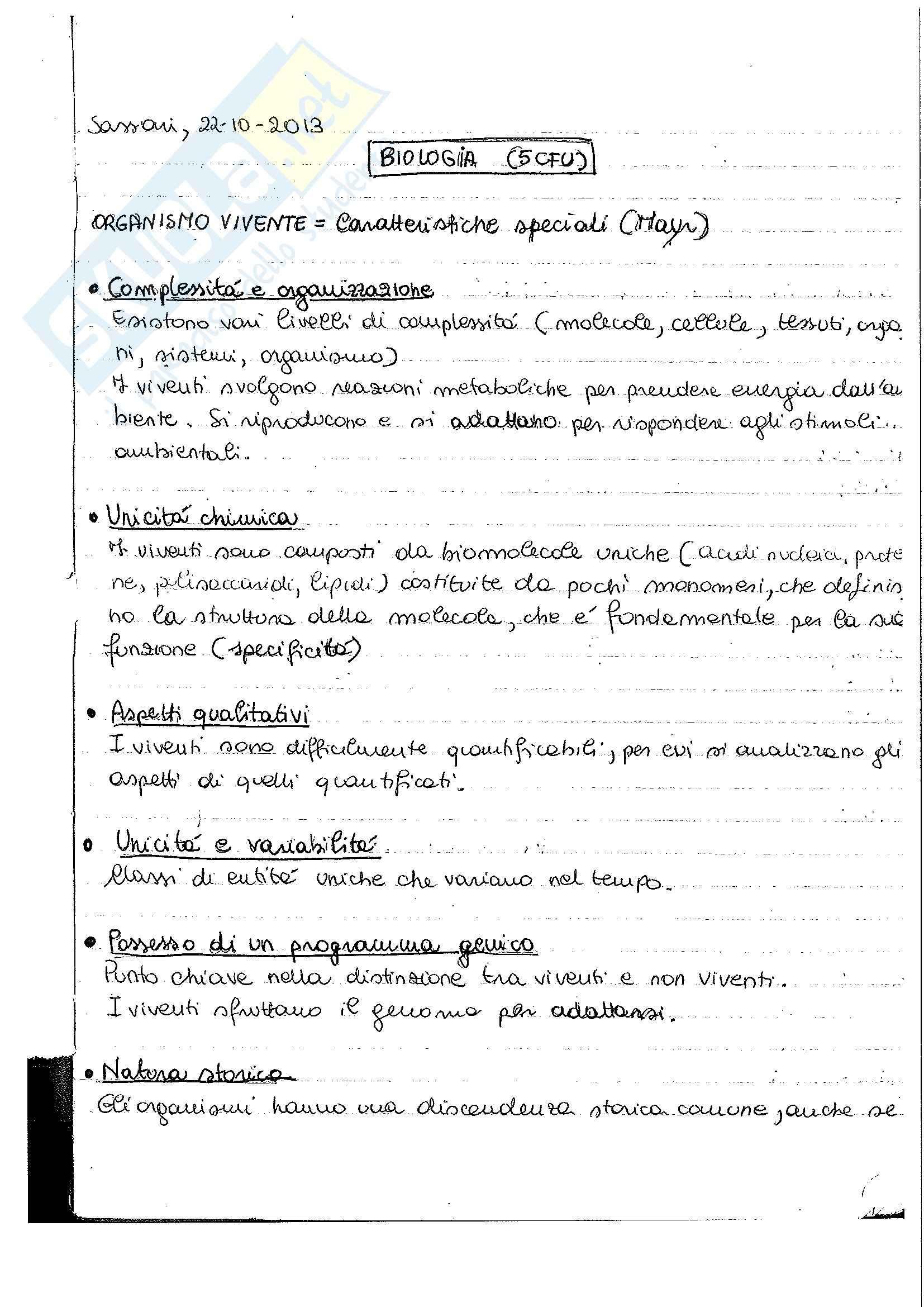 Biologia - Appunti lezioni