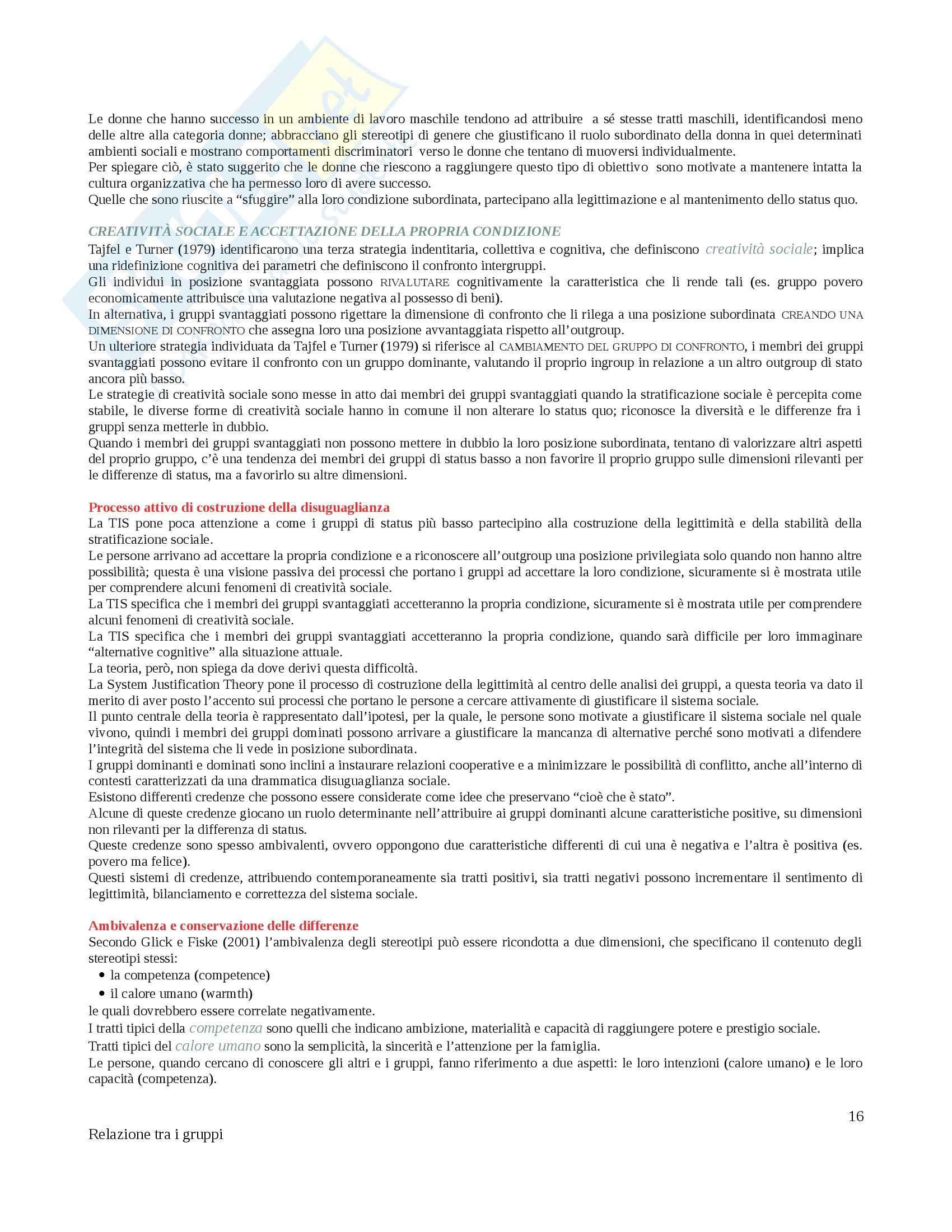 Riassunto esame Psicologia dei gruppi , prof. Matera, libro consigliato Relazione tra i gruppi, Caricati Pag. 16