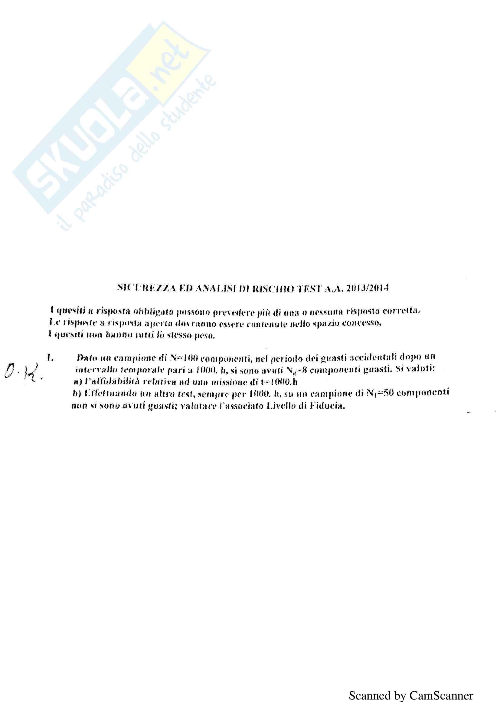 Risoluzione alcuni esercizi d'esame di Sicurezza, prof Orlandelli