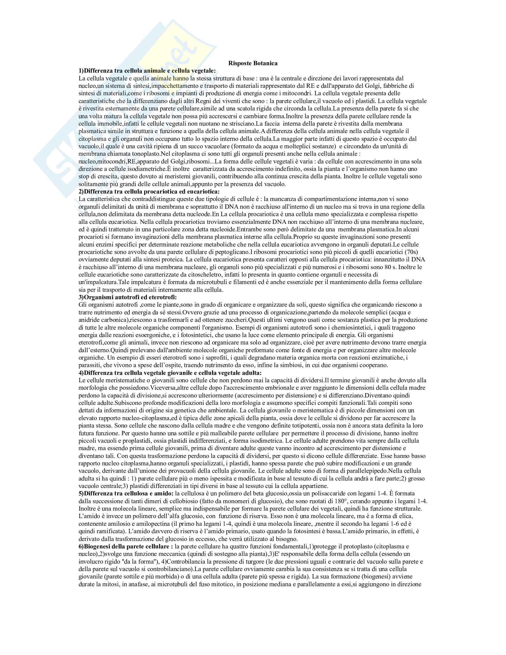 Tutte le risposte per un esame di botanica