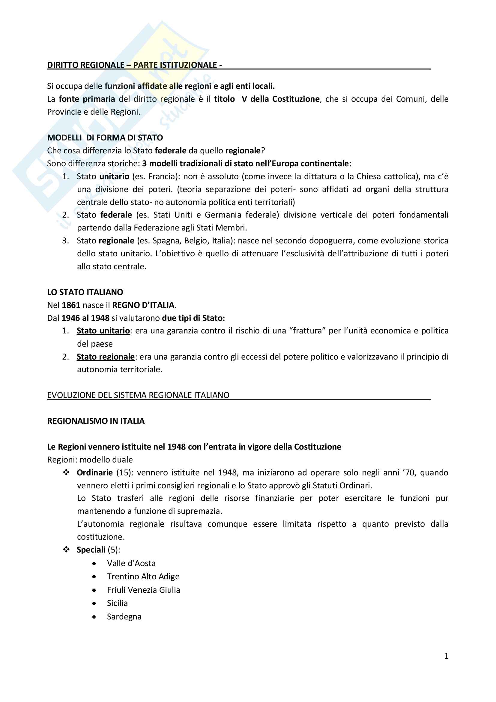 Appunti di Diritto regionale e dei servizi sociali