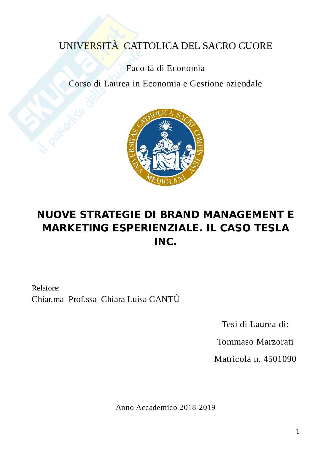 Il Marketing esperienziale e Brand Management: il caso Tesla - Tesi Laurea triennale Marketing