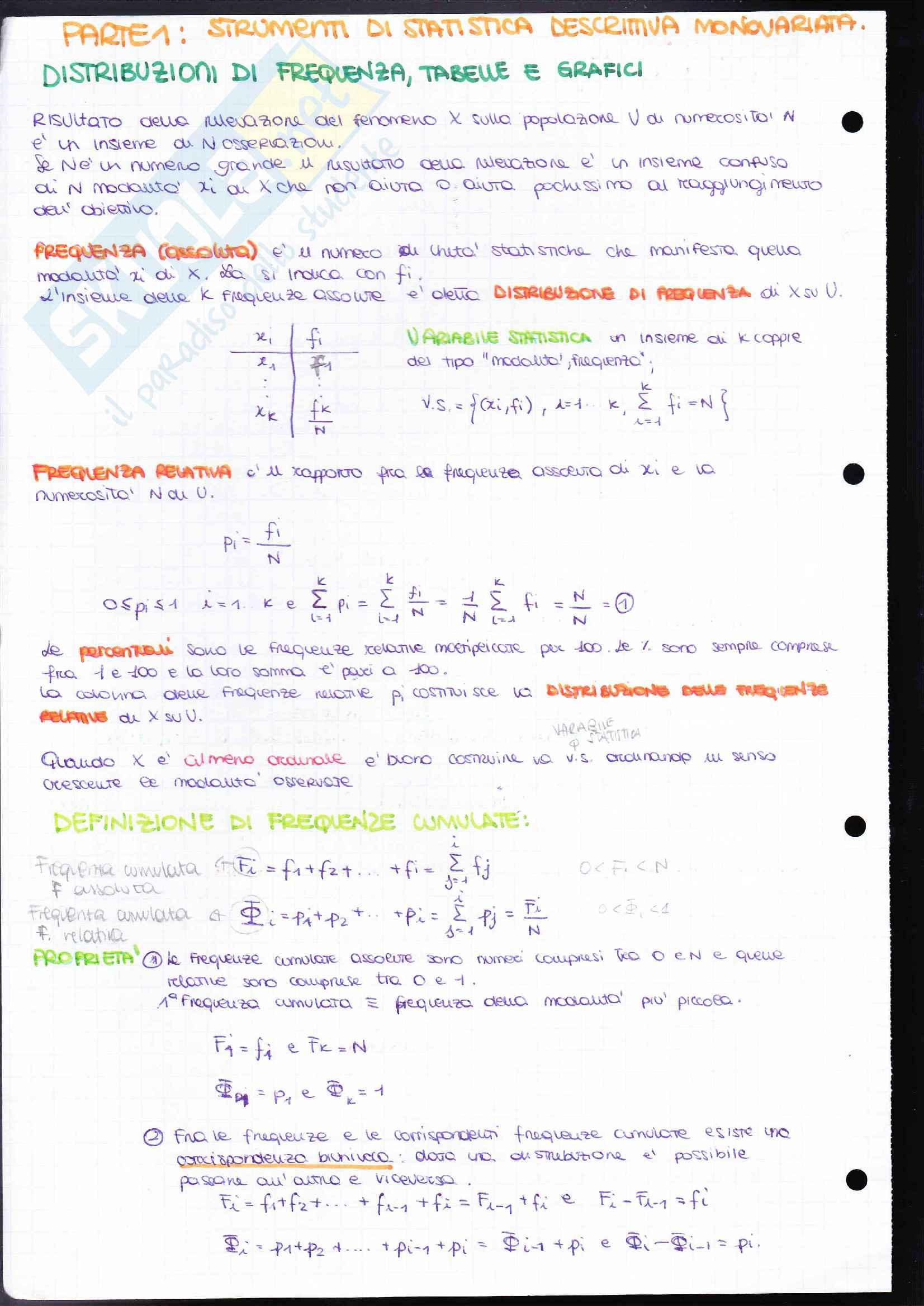 Riassunto esame Statistica, prof. Mecatti, libro consigliato Statistica di base - Come, quando, perché, Fulvia Mecatti Pag. 2