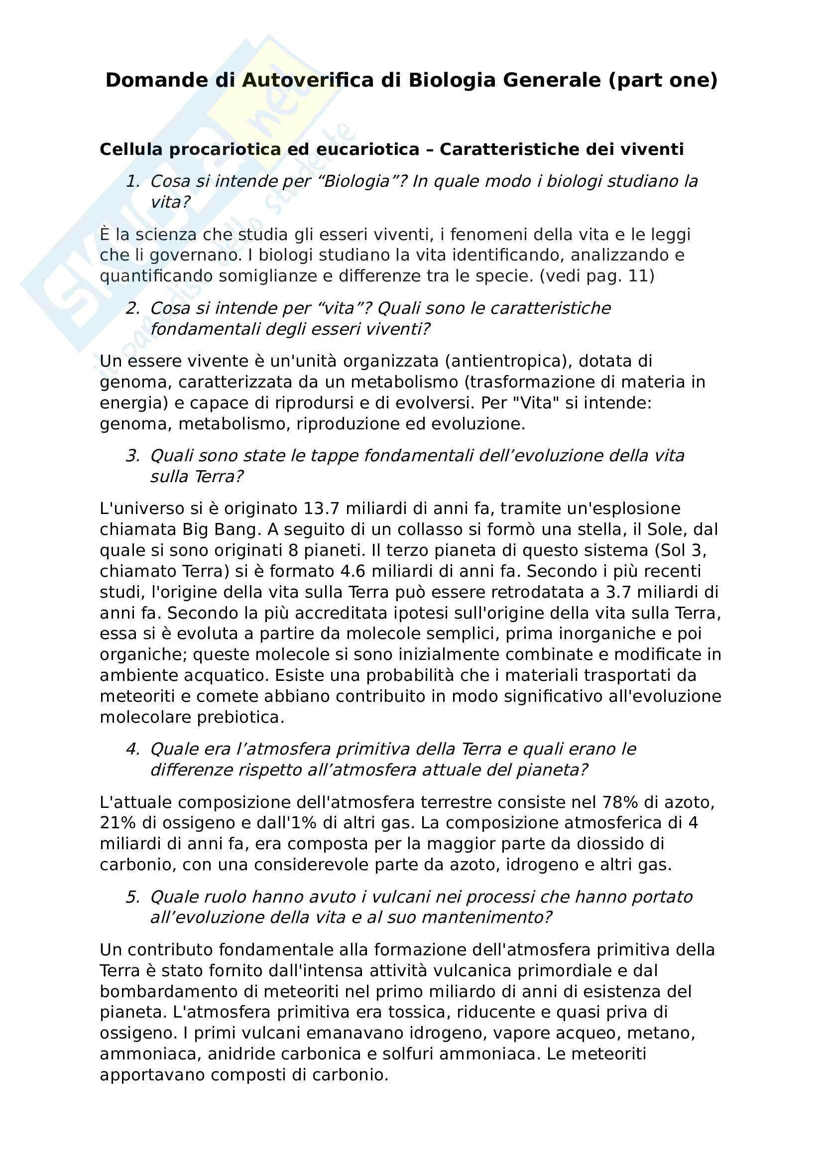 Risposte a Domande di Autovalutazione di Biologia Generale - Parte 1