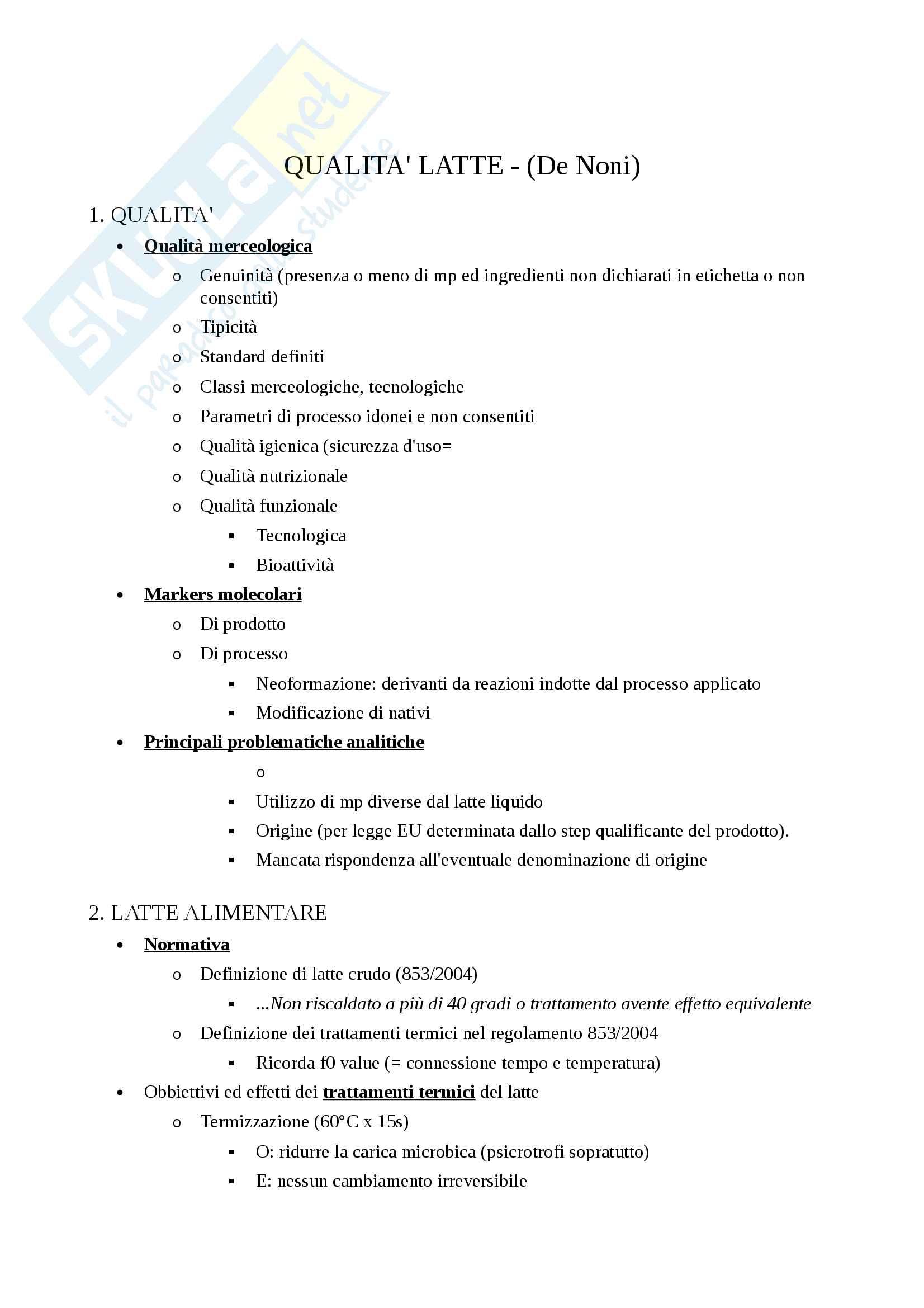 prof. De Noni Qualità Funzionalità Latte Derivati, Appunti di lezione