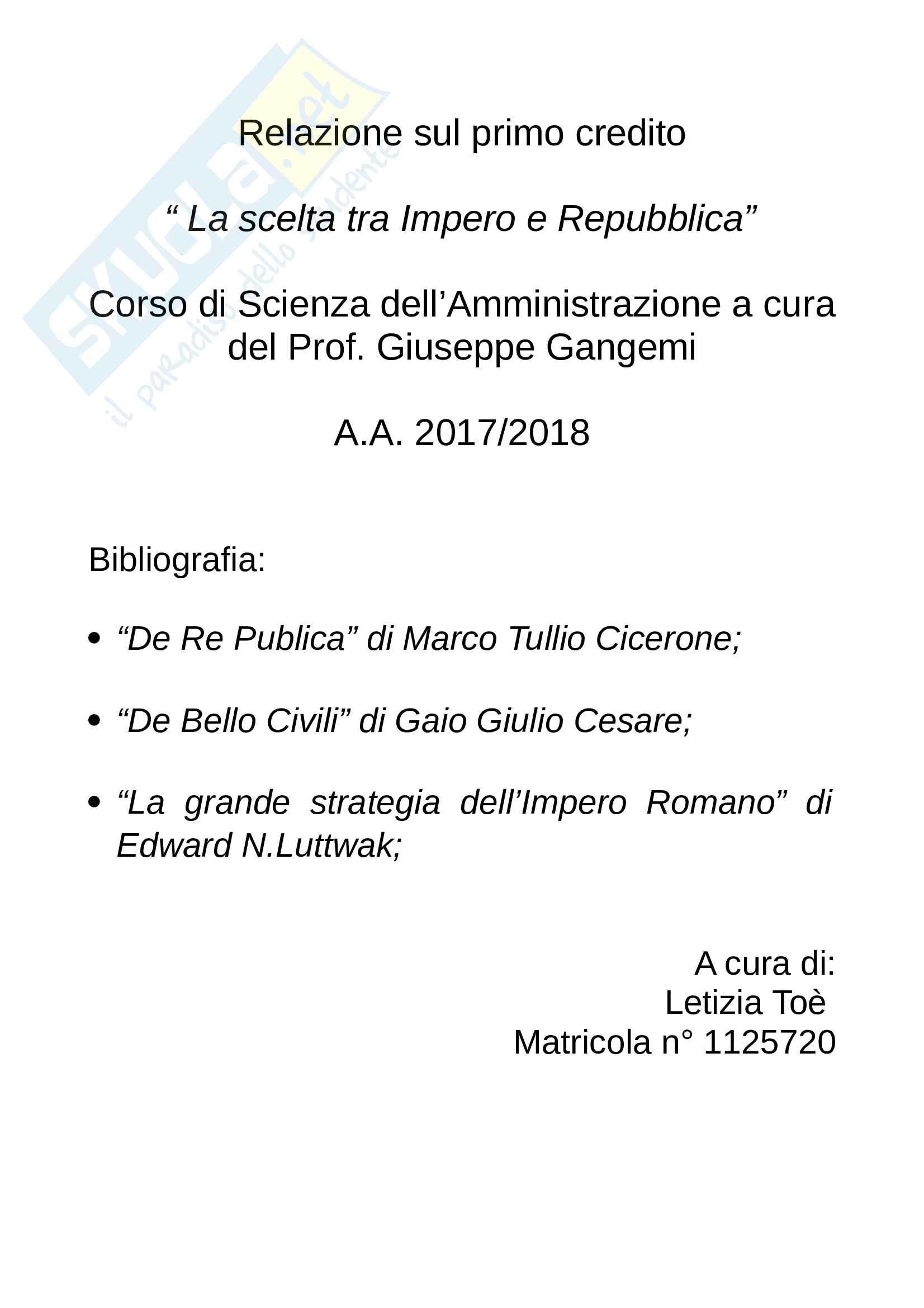 Tesina sul confronto tra Cesare e Cicerone nella scelta tra Impero e Repubblica