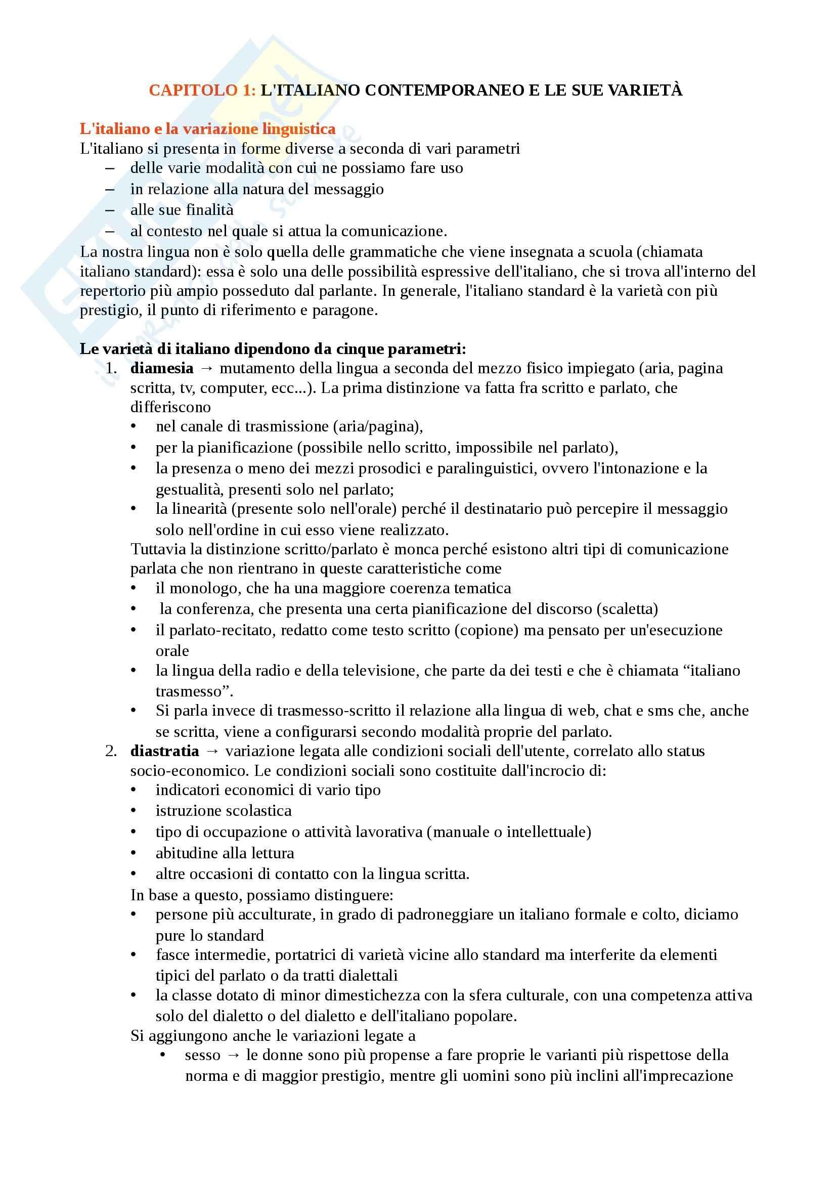 Riassunto esame parziali di Lingua italiana e comunicazione, prof. Piotti, libro consigliato Elementi di linguistica italiana