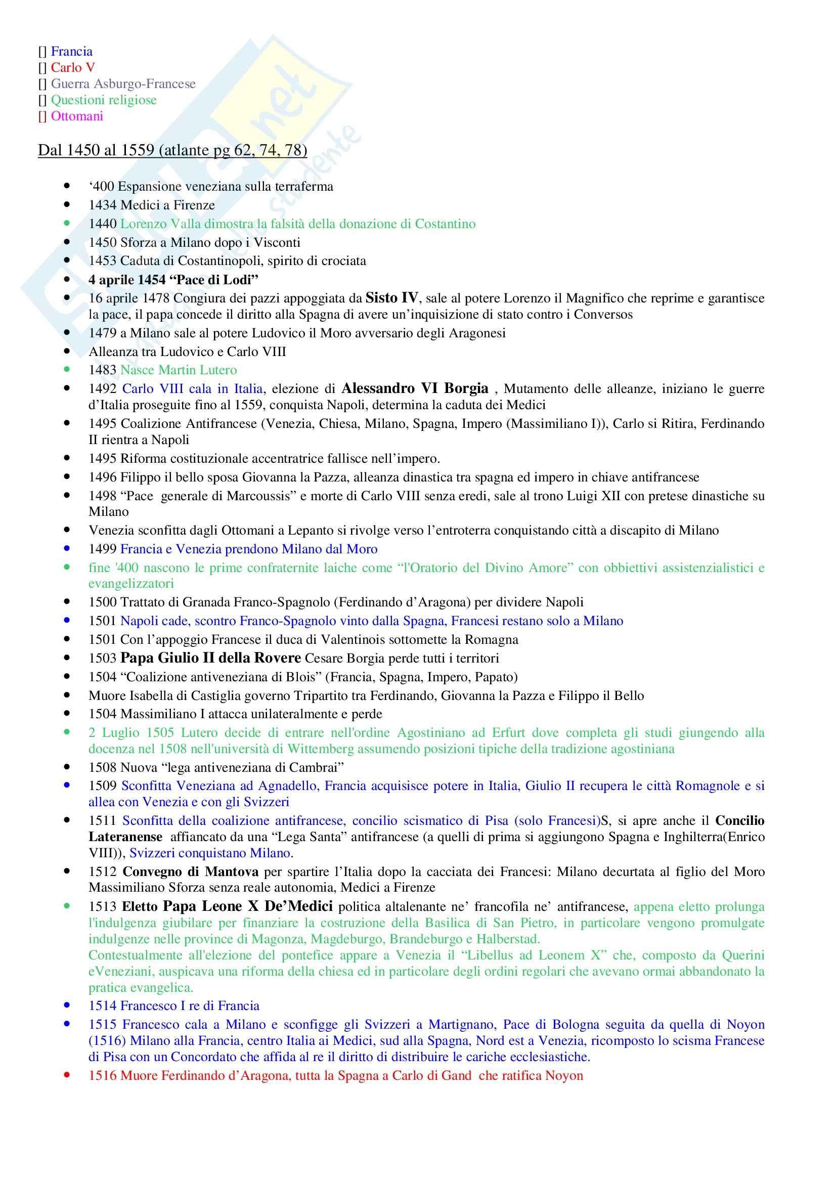 Storia Moderna - Cronologia essenziale Pag. 2