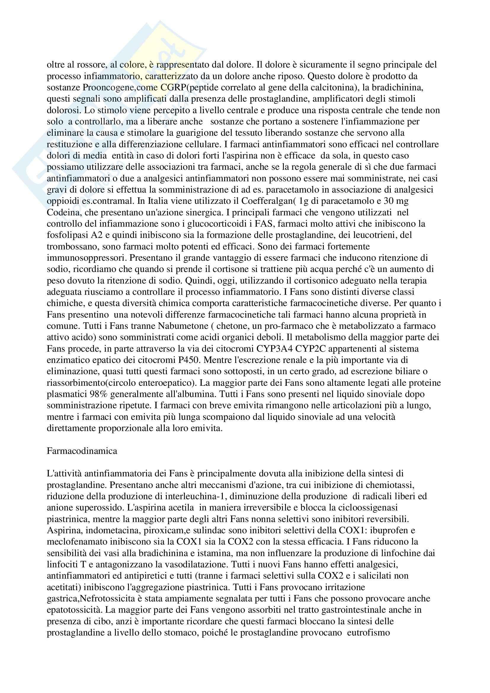 Farmacologia - farmaci antinfiammatori non steroidei Pag. 2