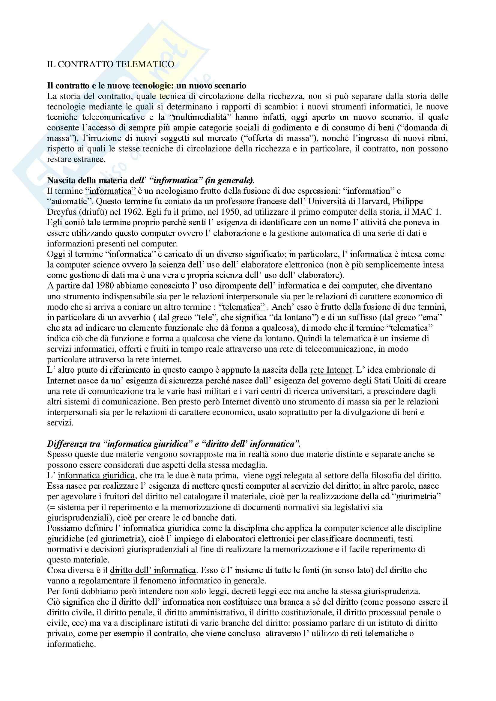 Contratto telematico, Diritto dell'informatica