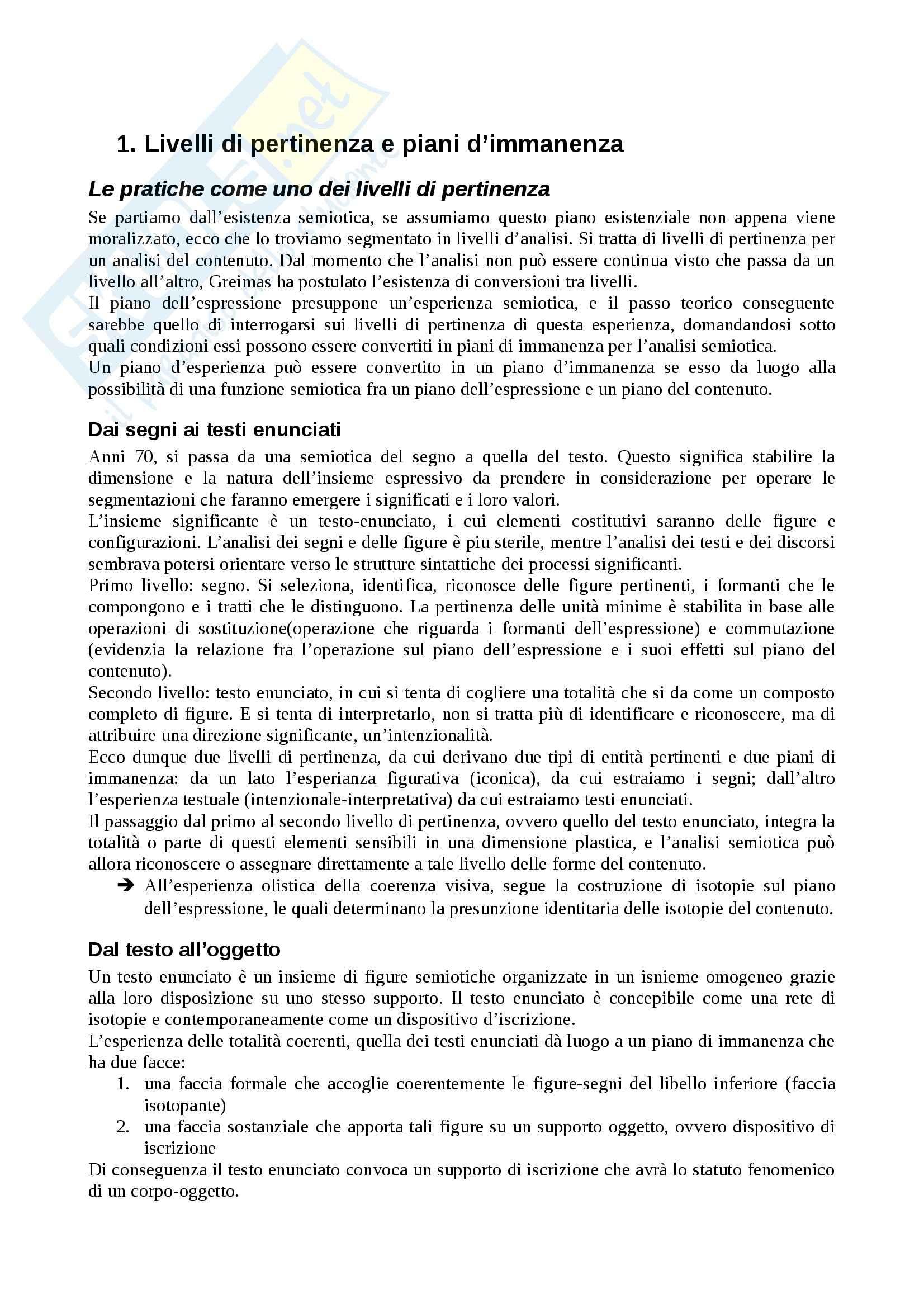 Riassunto esame Semiotica, prof. Basso, libro consigliato Pratiche semiotiche, Fontanille