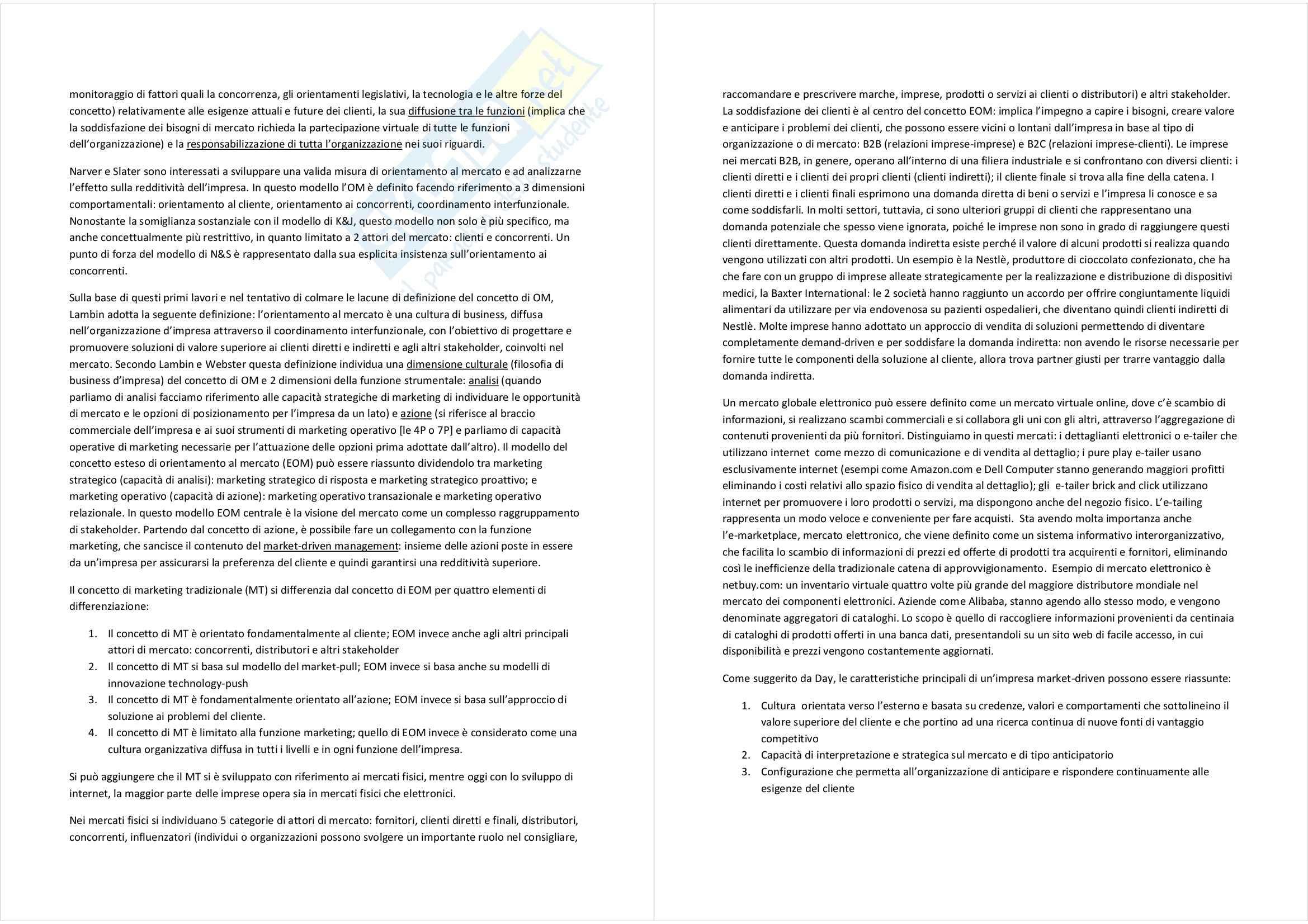 Riassunto esame Marketing, prof. Magliocca, libro consigliato Market driven management: marketing strategico e operativo, Lambin Pag. 2