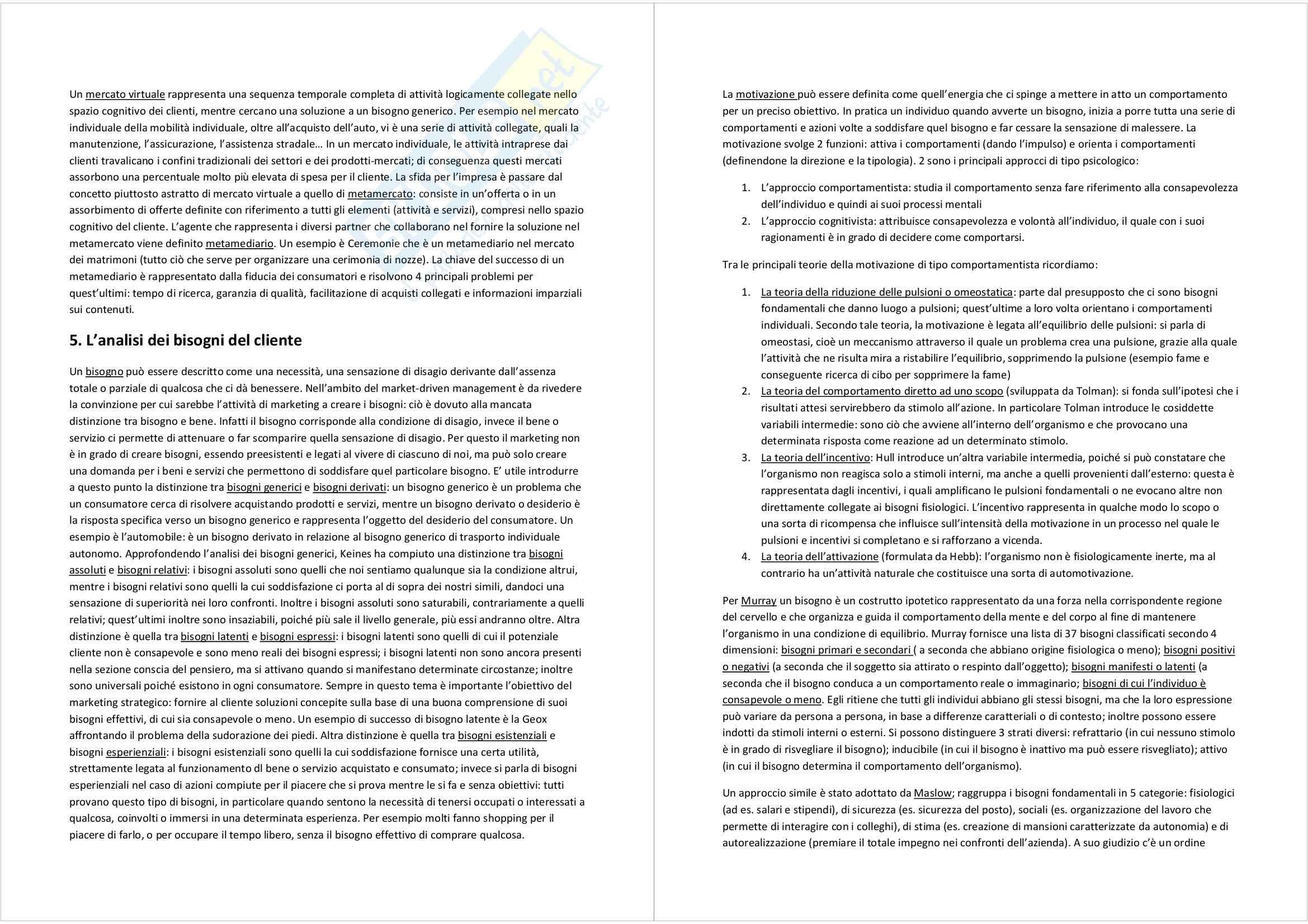 Riassunto esame Marketing, prof. Magliocca, libro consigliato Market driven management: marketing strategico e operativo, Lambin Pag. 6