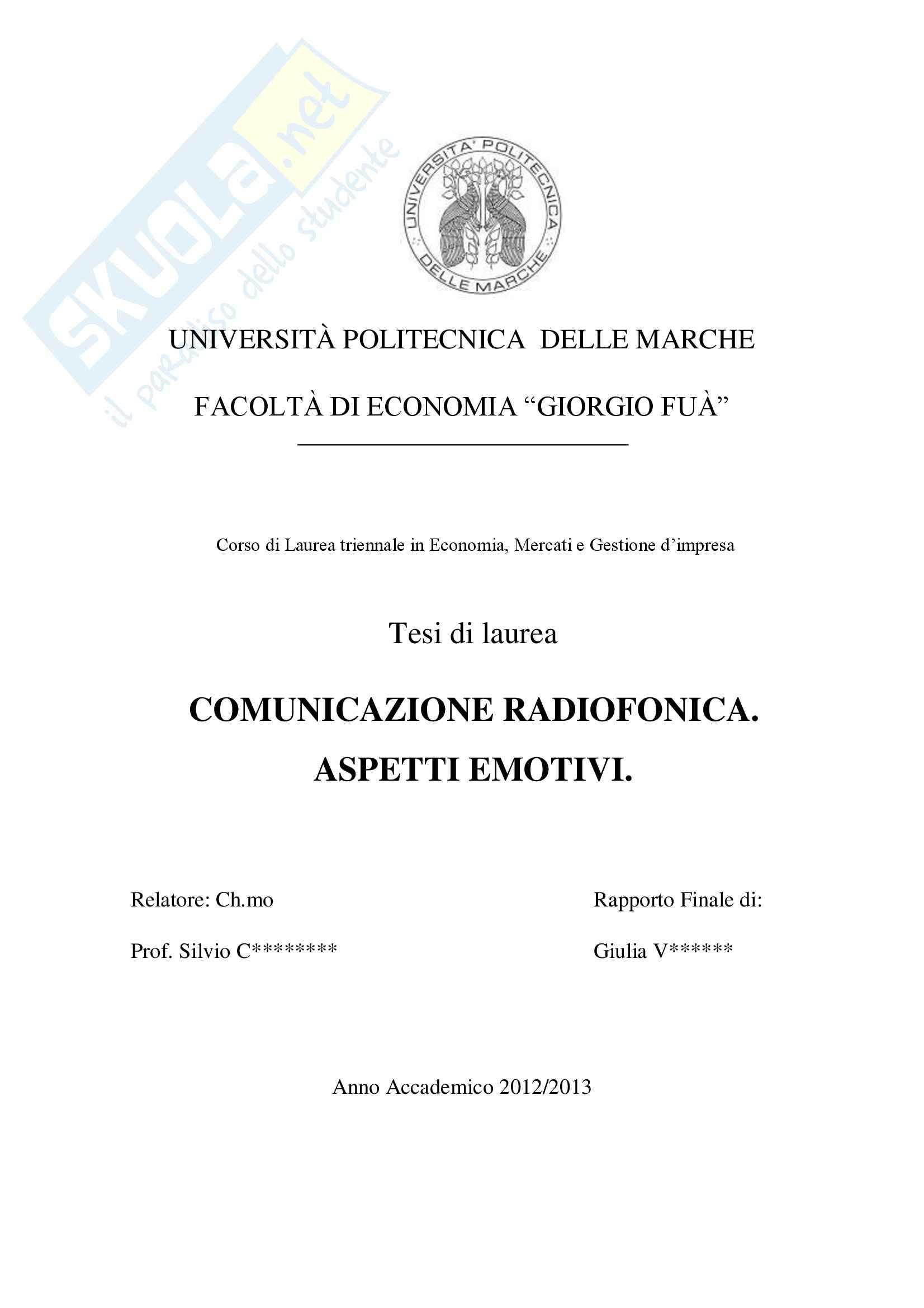 Comunicazione Radiofonica, Economia e marketing Pag. 1