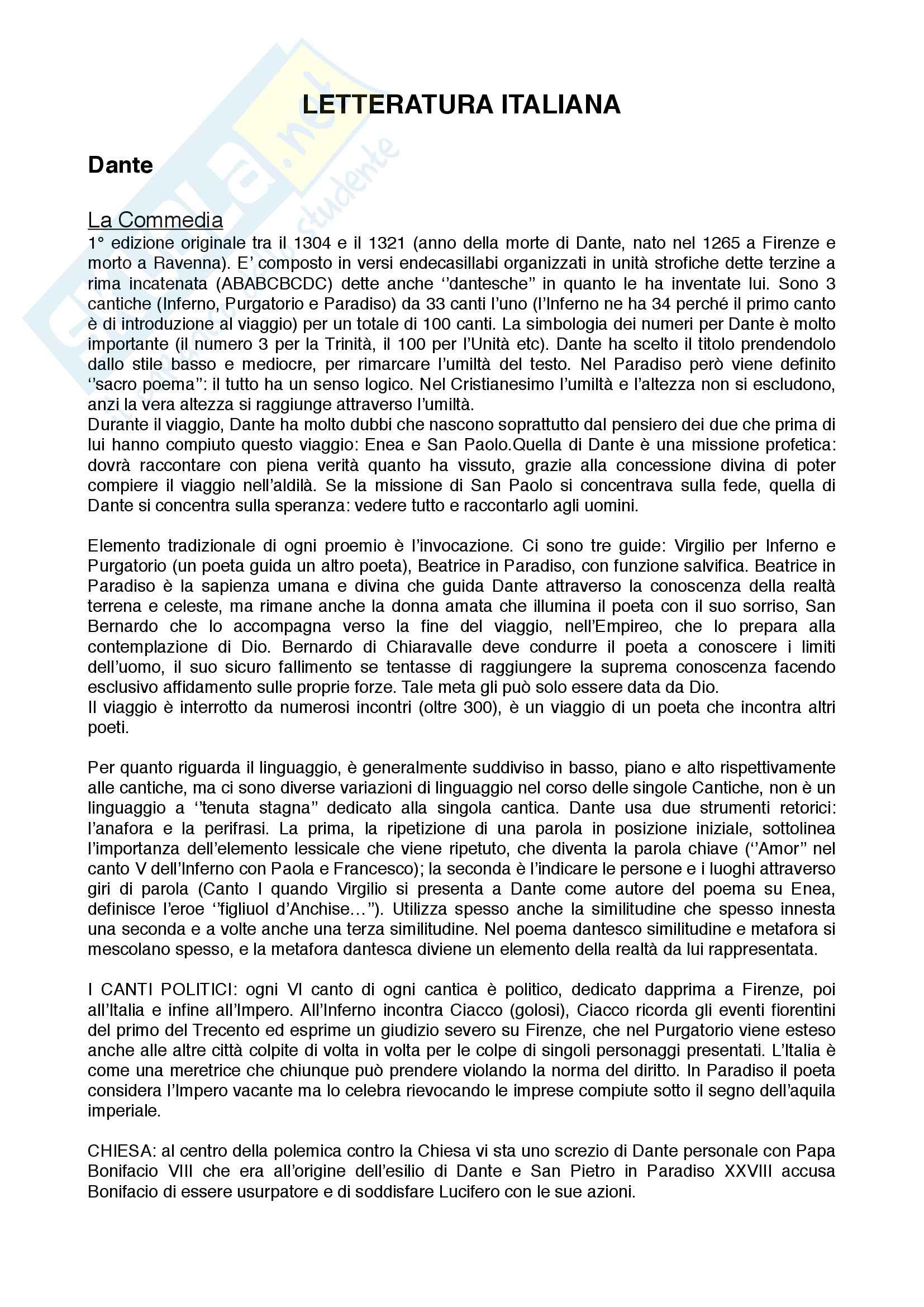 Appunti Completi esame Letteratura Italiana LIMED - Roberta Ferro