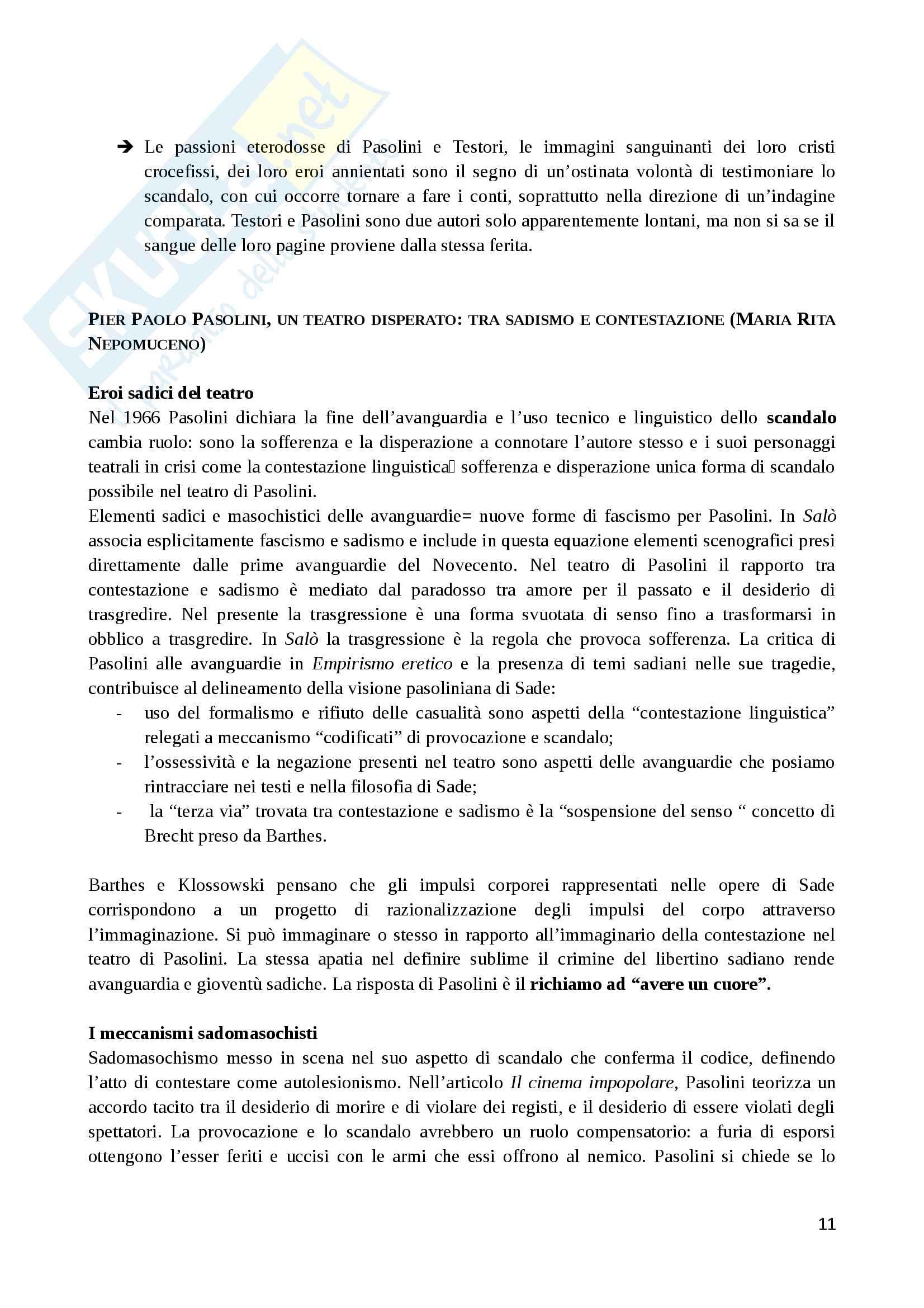 Riassunto esame Teoria e Tecniche della composizione drammatica, prof. Guccini, libro consigliato Pasolini e il teatro, Casi, Felice, Guccini Pag. 11
