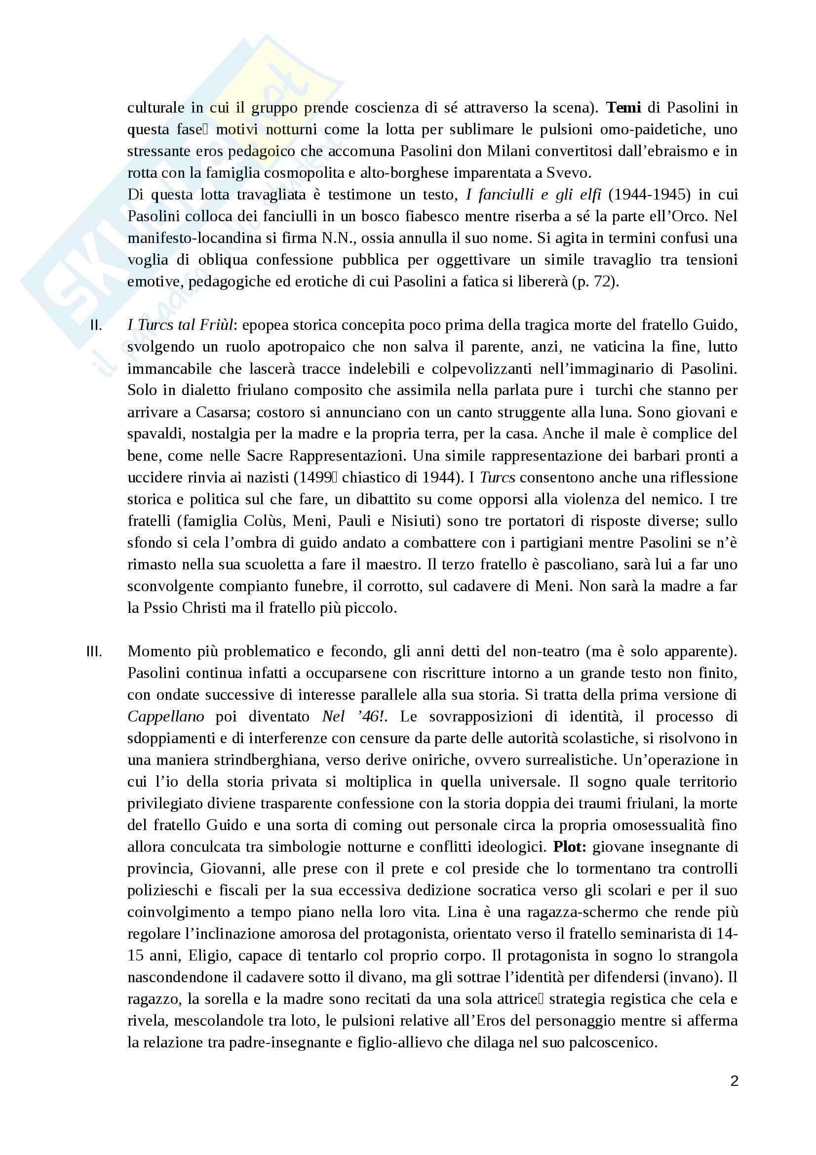 Riassunto esame Teoria e Tecniche della composizione drammatica, prof. Guccini, libro consigliato Pasolini e il teatro, Casi, Felice, Guccini Pag. 2