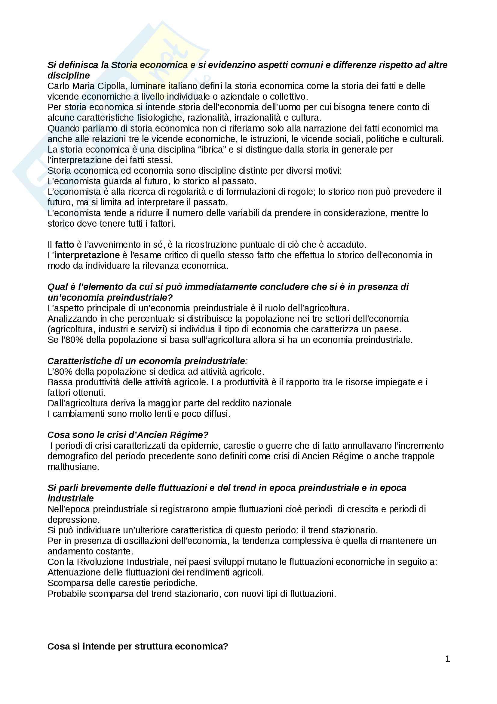 appunto A. Marcelli Storia economica