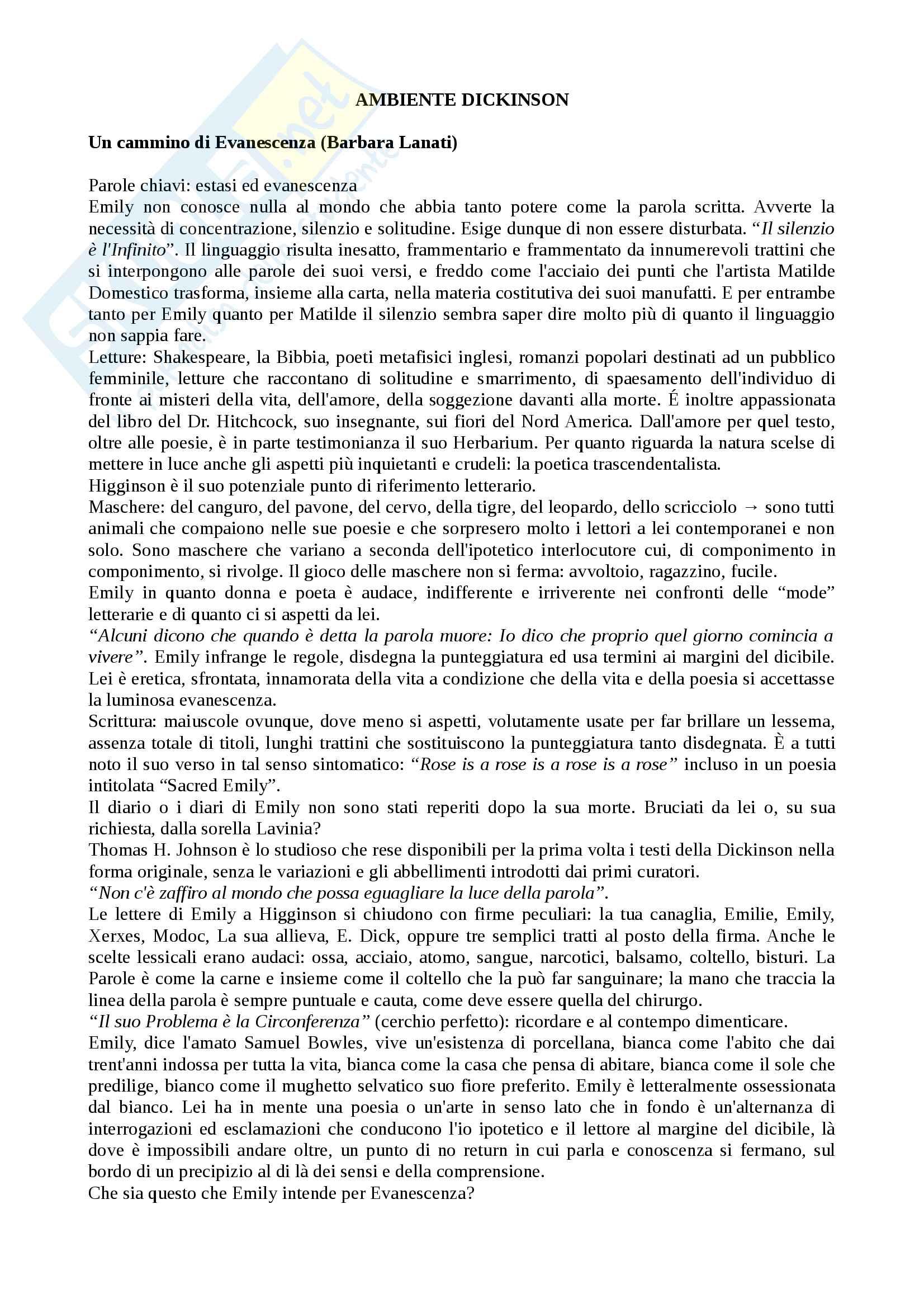 Riassunto esame Letteratura anglo-americana, prof. Fagione, libro consigliato Ambiente Dickinson, Fargione