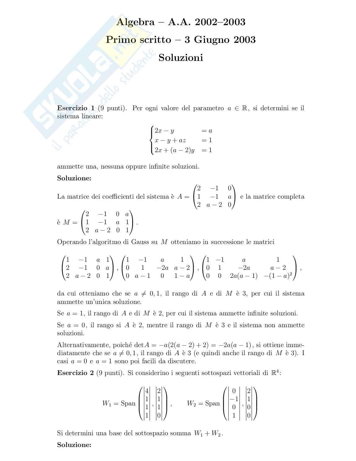 Geometria e Algebra - prova d'esame con soluzioni