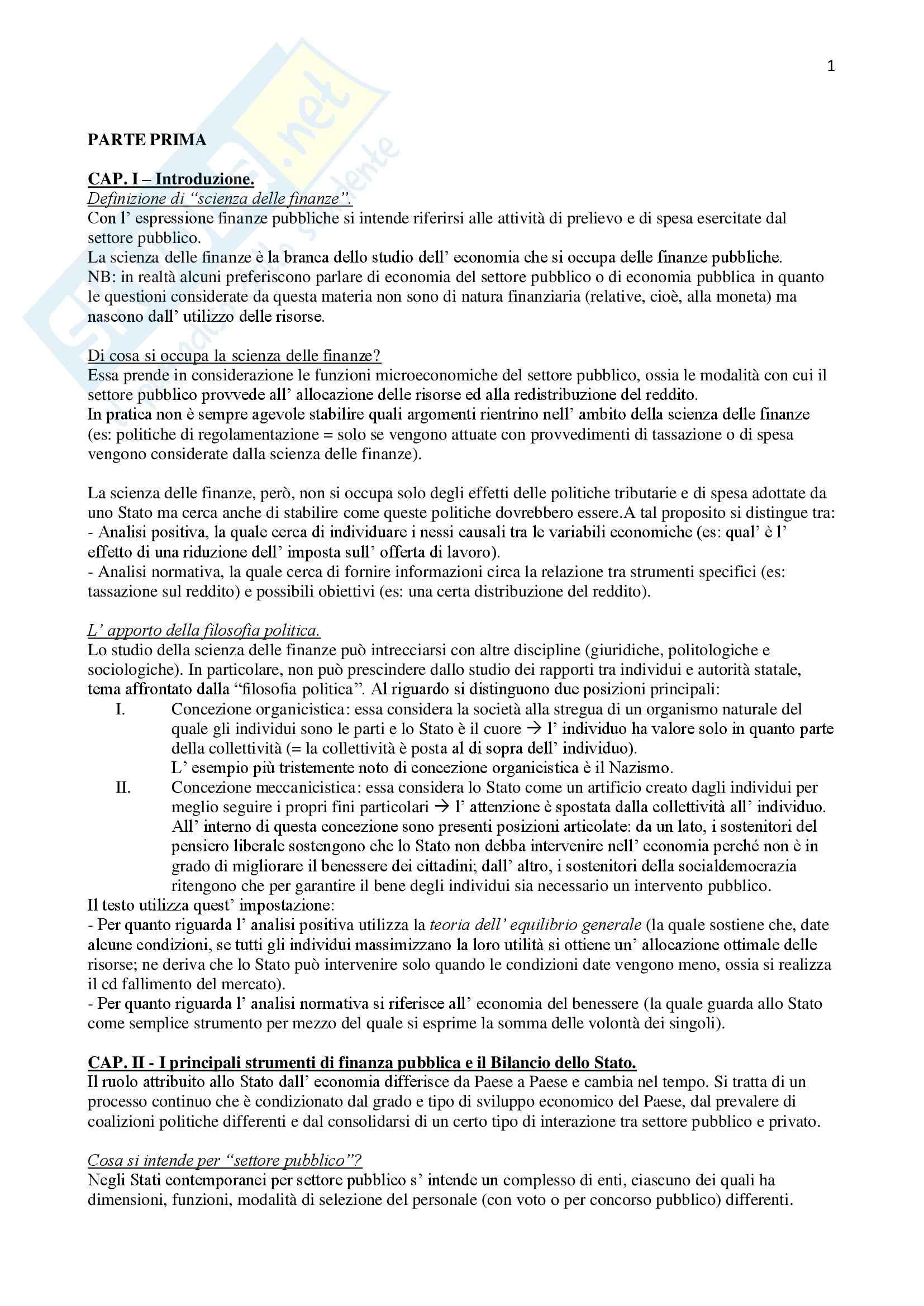 Riassunto esame Finanze, prof. Commendatore, libro consigliato Scienza delle finanze,Rosen, Gayer