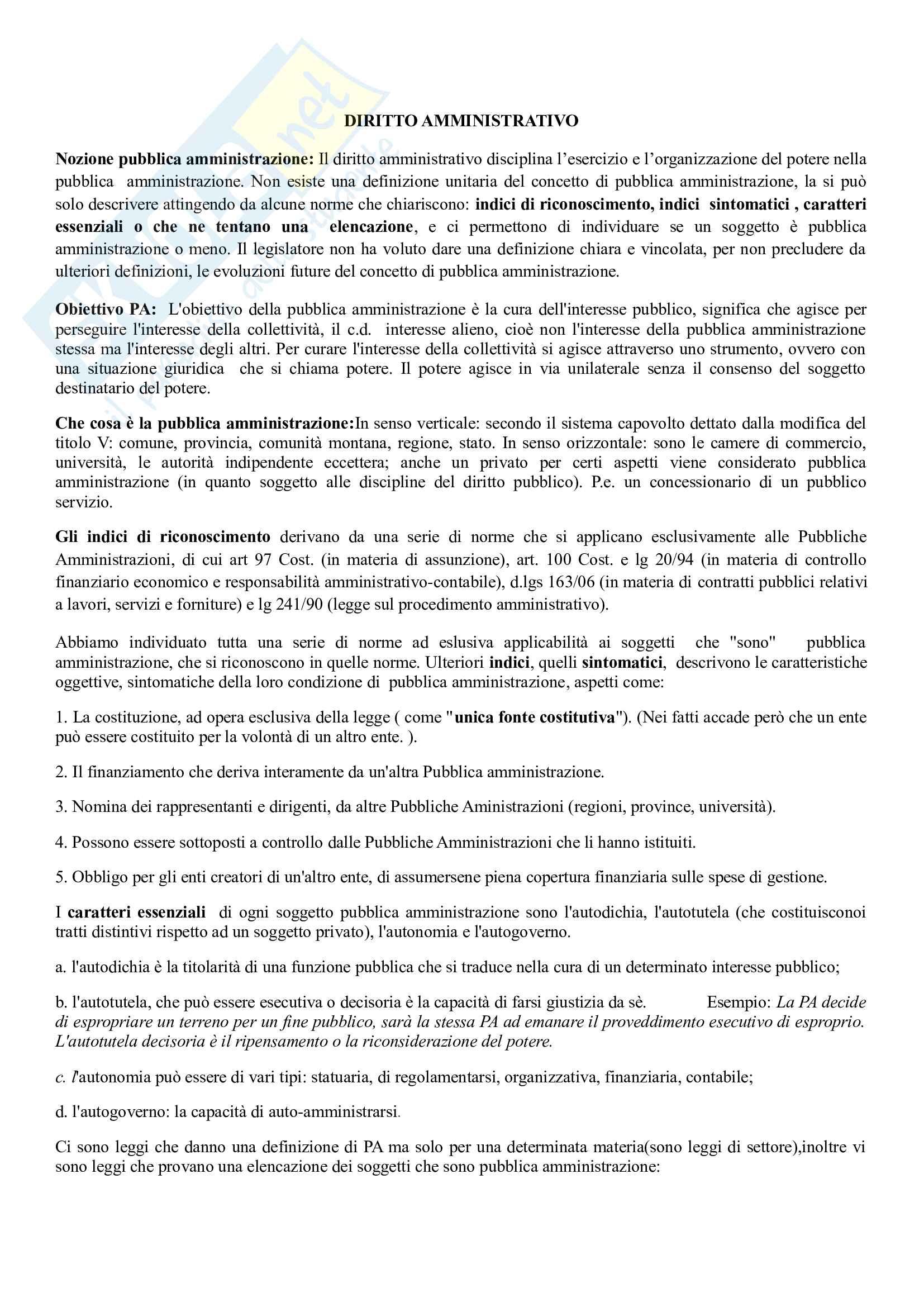 Diritto amministrativo - Appunti intere lezioni