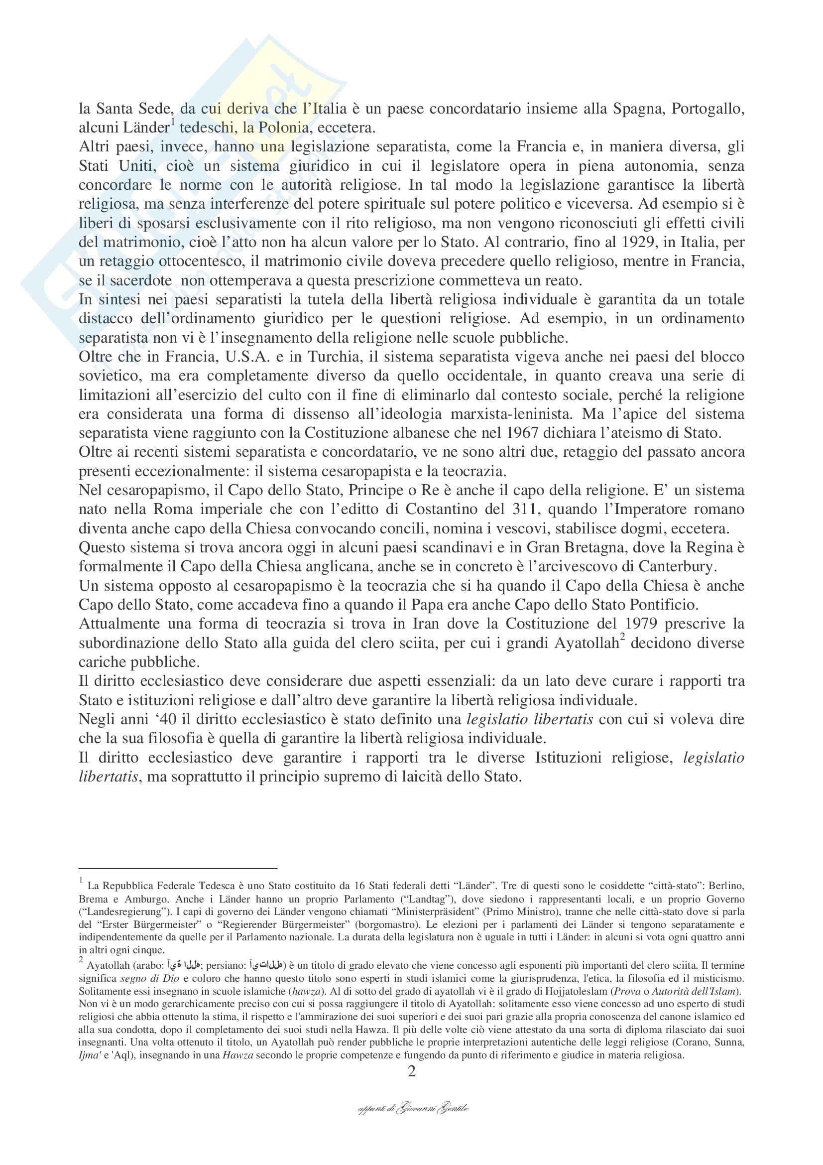 Diritto ecclesiastico comparato - Appunti Pag. 2