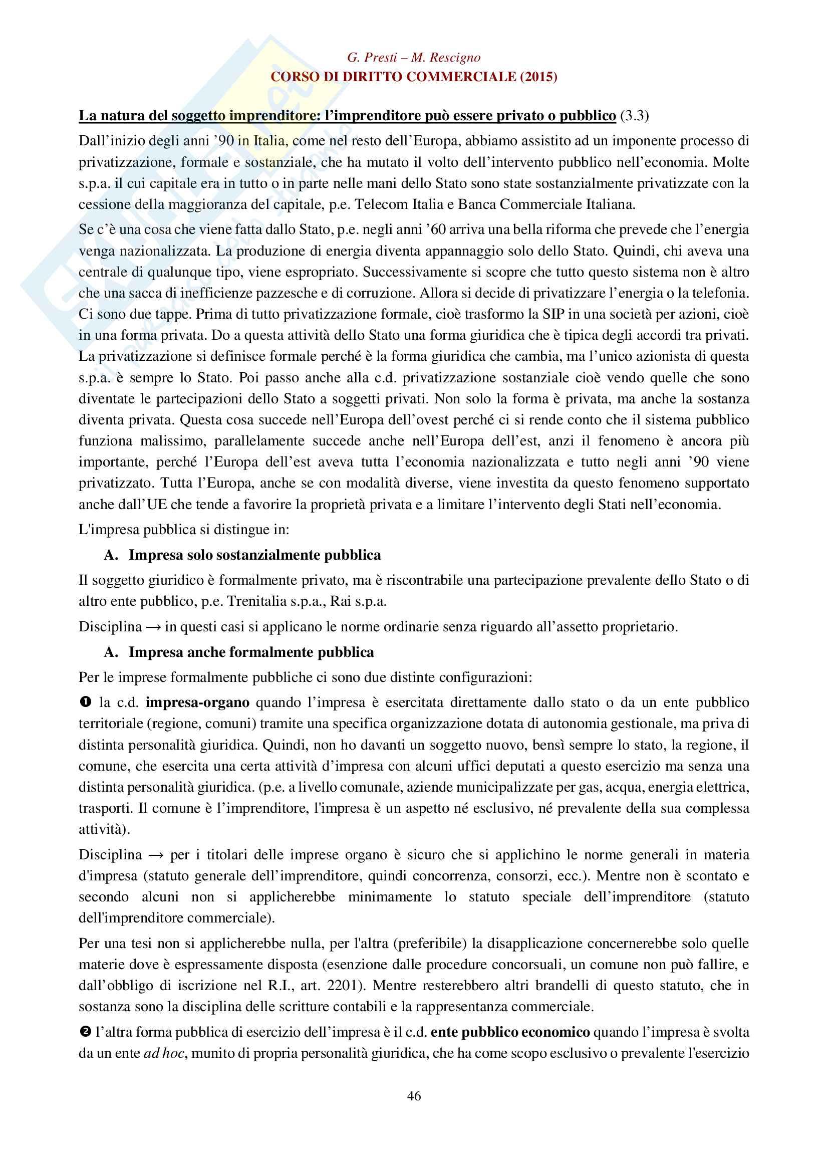 Appunti per esame di diritto commerciale: impresa, imprenditore e azienda Pag. 46