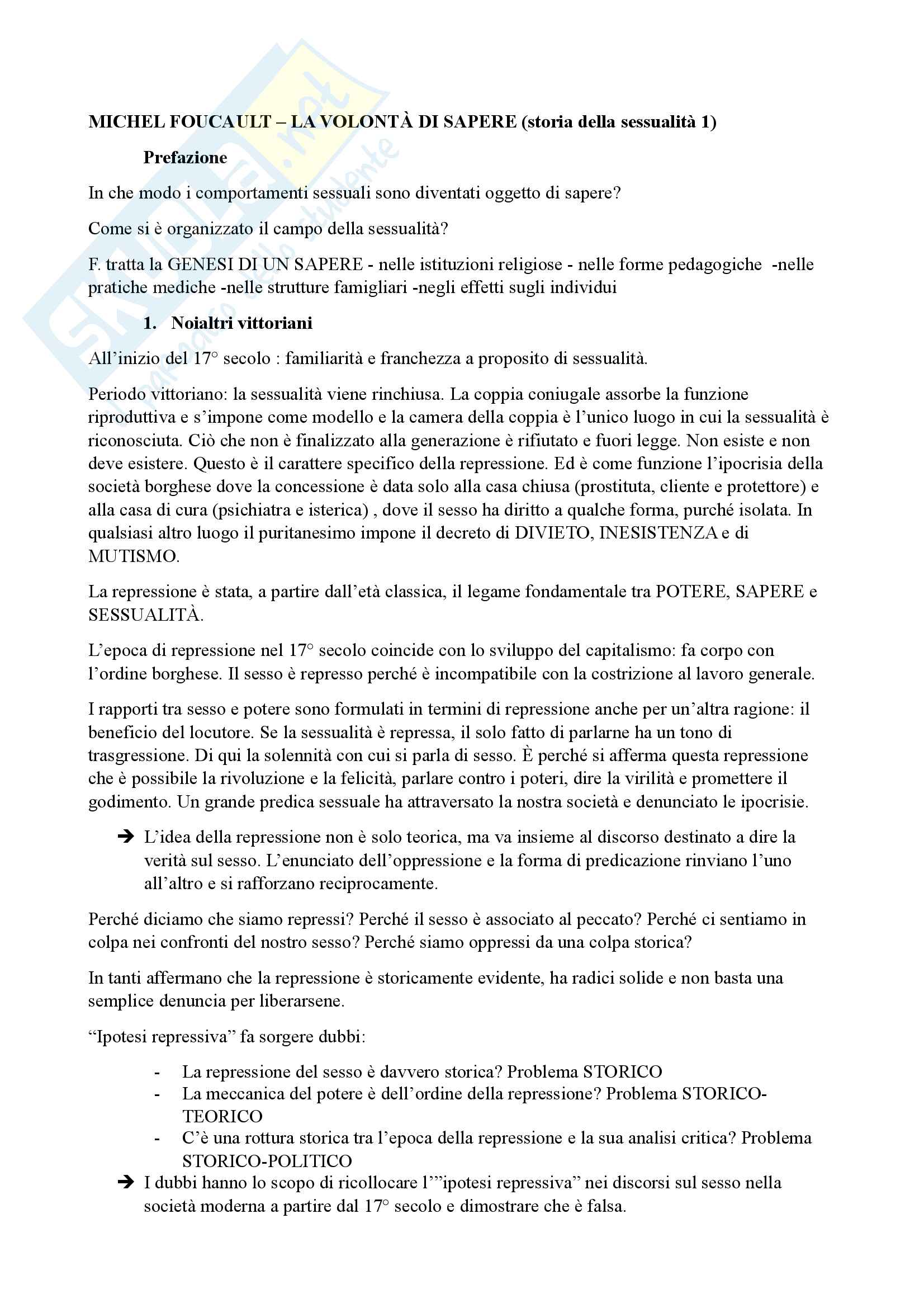 Riassunto esame Teoria della letteratura, prof. Iacoli, libro consigliato La volontà di sapere, Foucault
