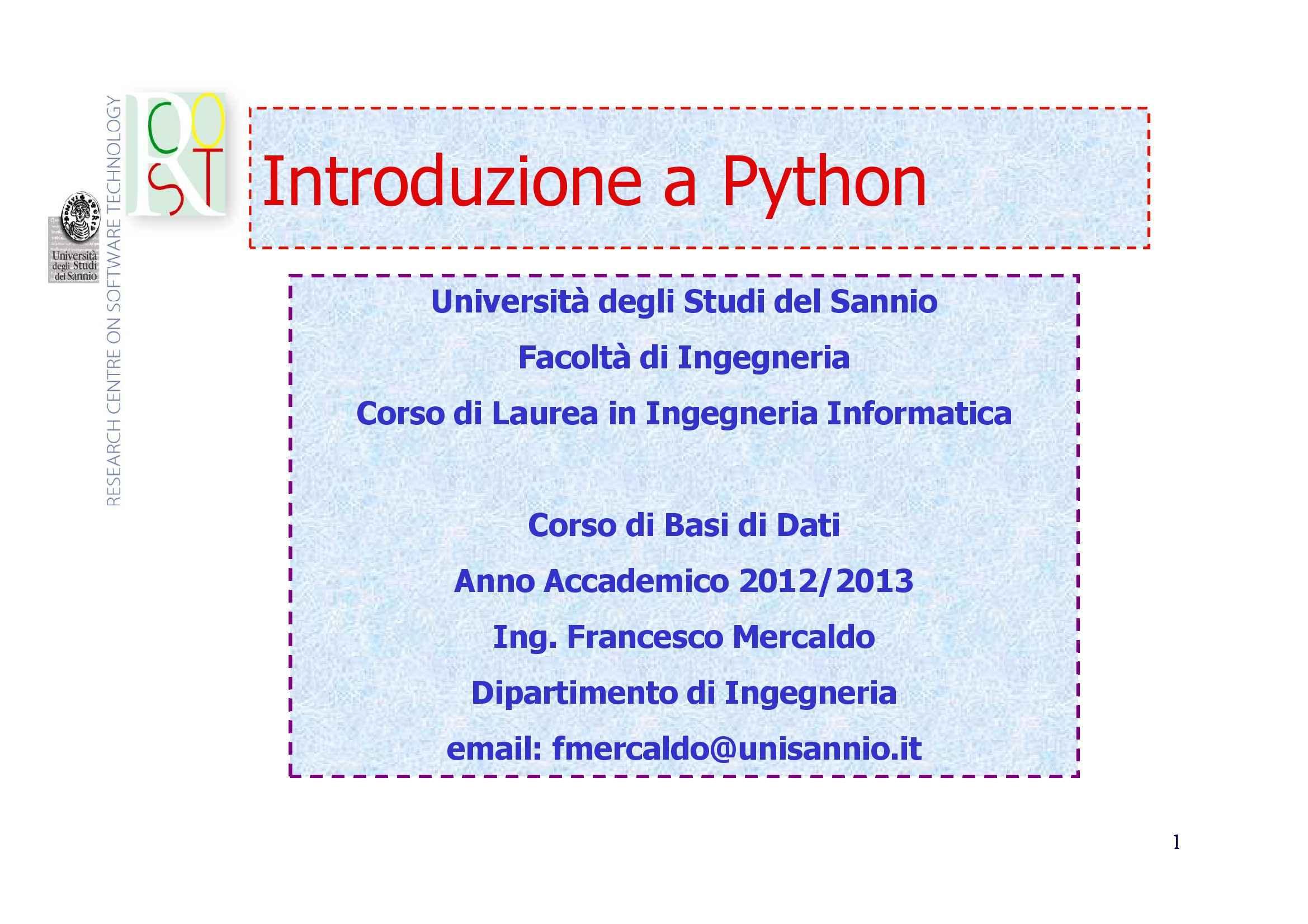 Prima lezione di linguaggio Python, Basi di dati