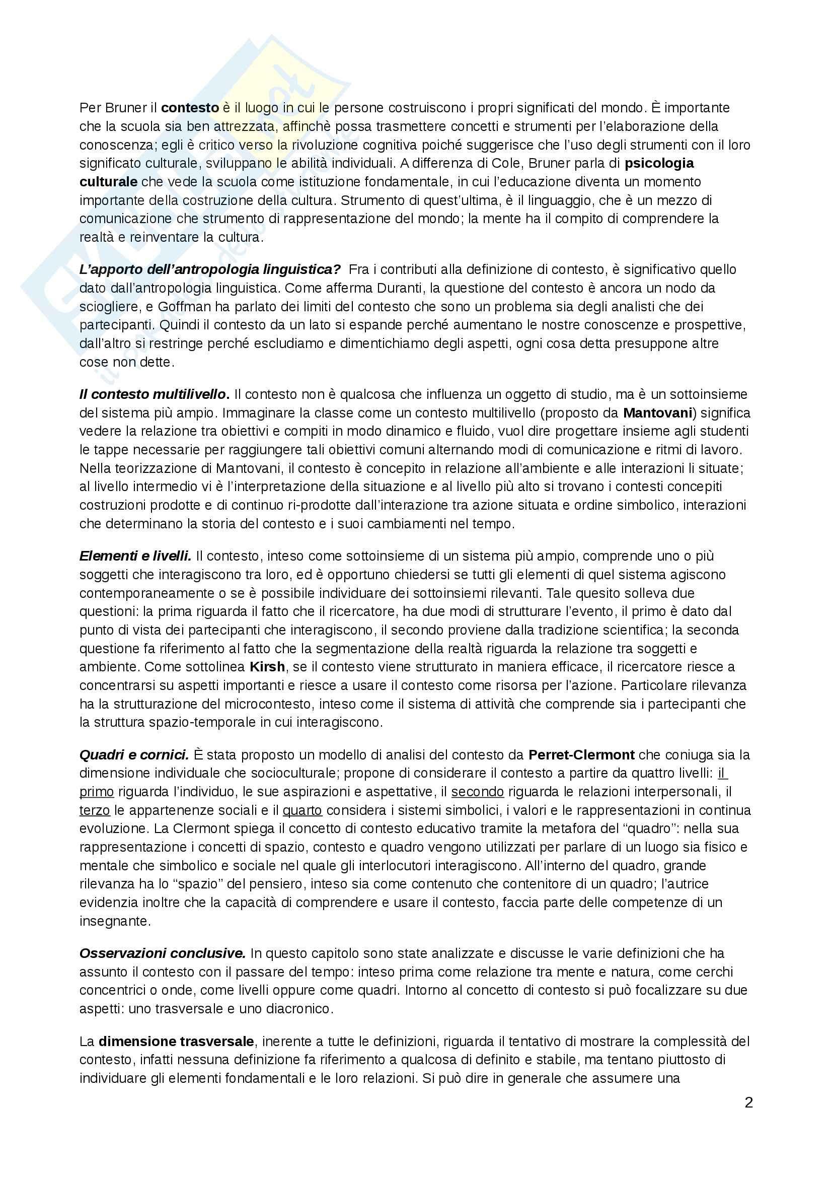 Riassunto esame Pedagogia generale, prof. Kanizsa, libro consigliato La scuola come contesto, Ligorio, Pontecorvo Pag. 2