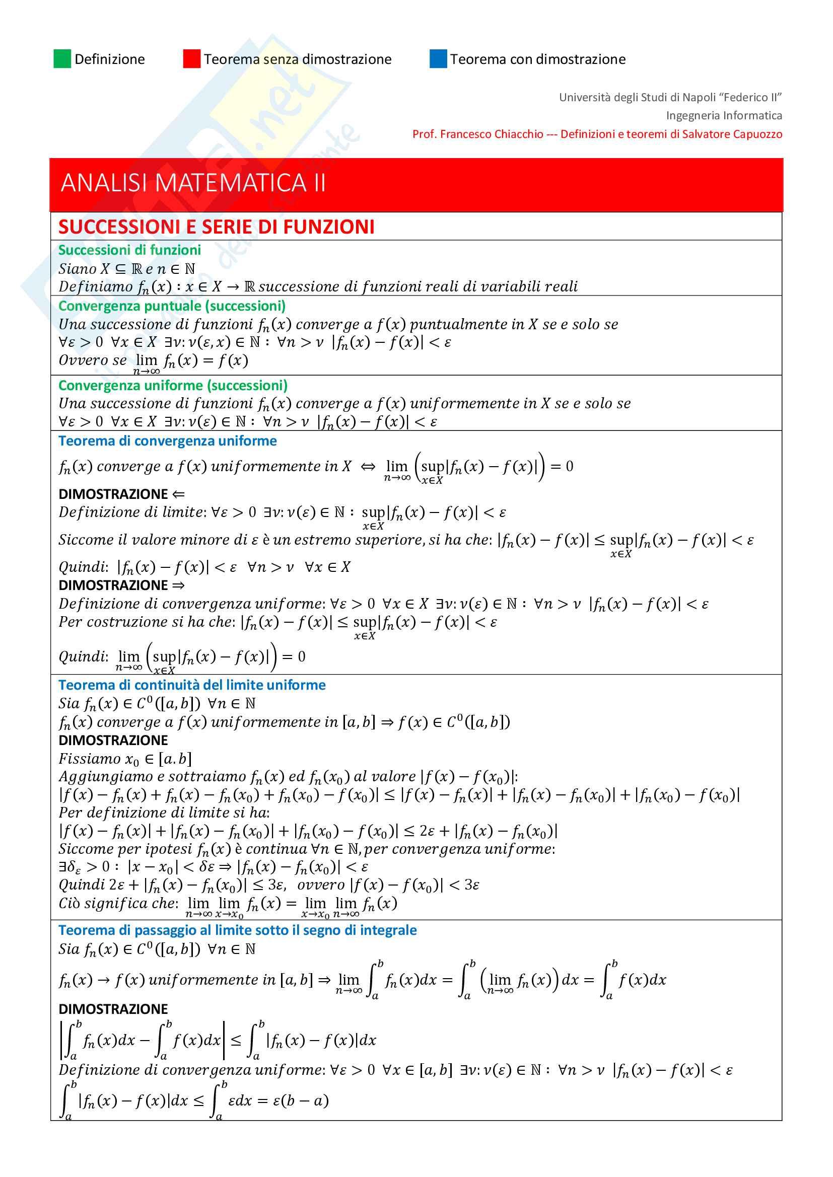 appunto F. Chiacchio Analisi matematica II