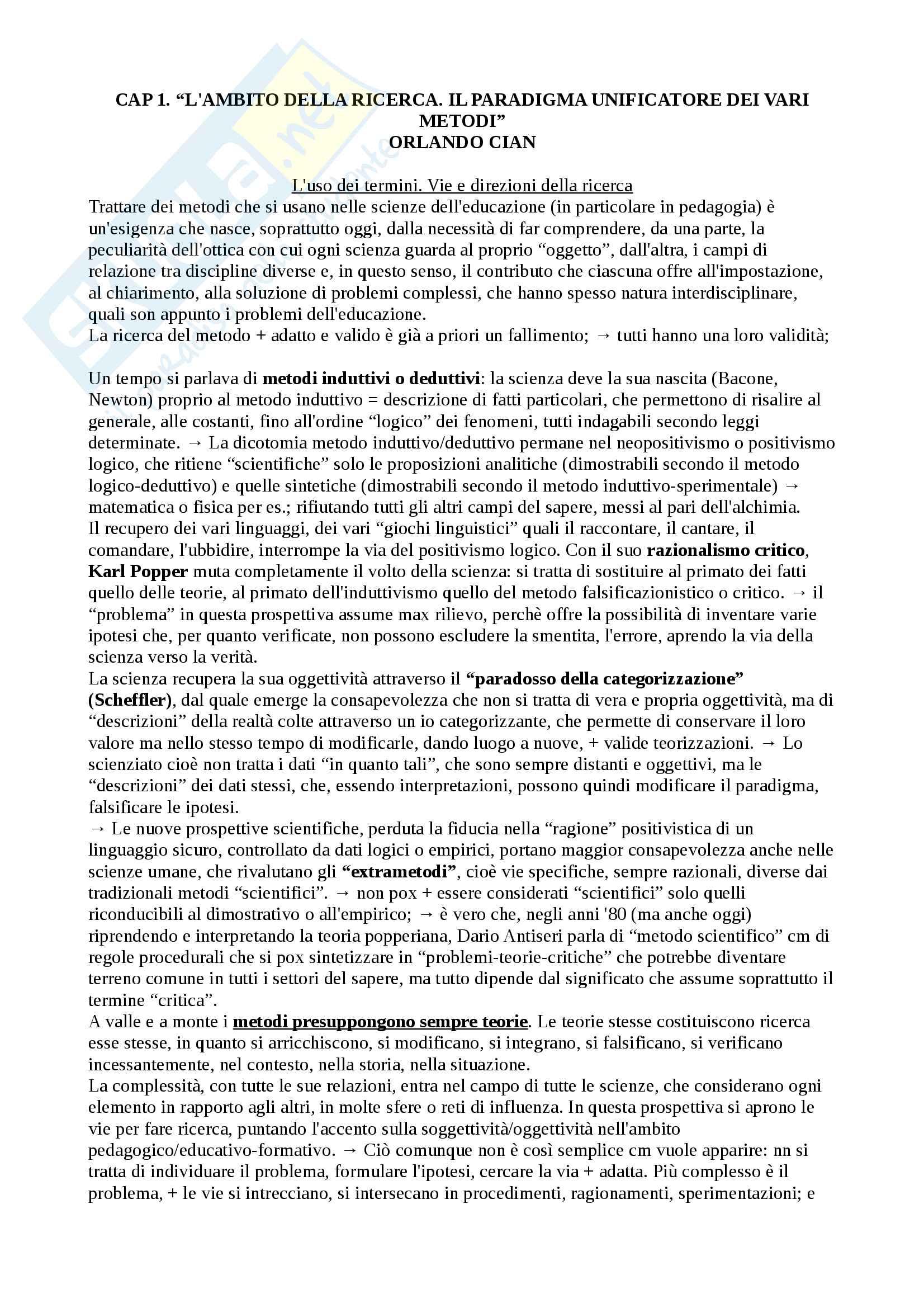 Riassunto esame Metodologia della ricerca pedagogica, prof. Gasperi, libro consigliato Metodologia della ricerca pedagogica, Orlando Cian