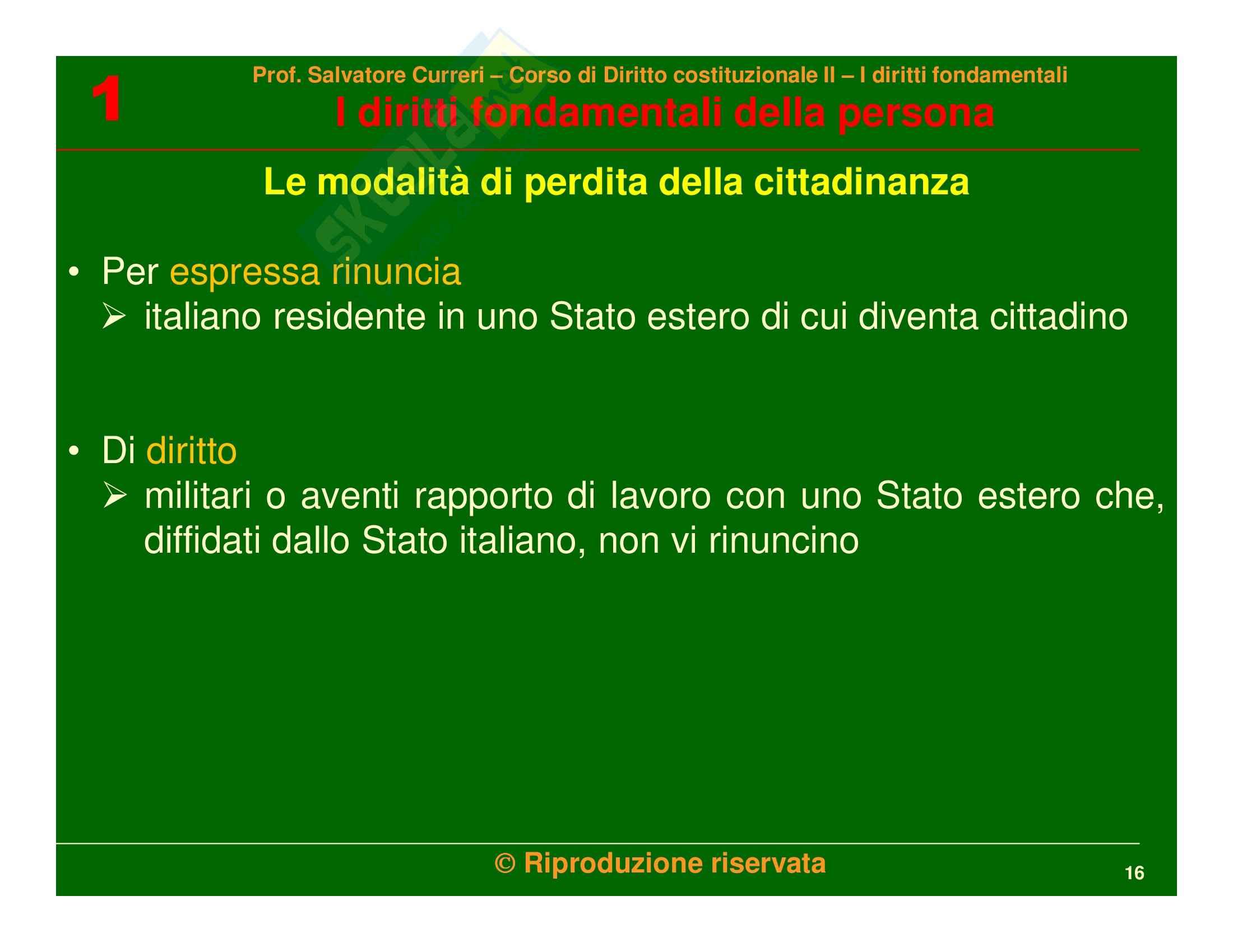Diritto costituzionale - i diritti fondamentali della persona Pag. 16