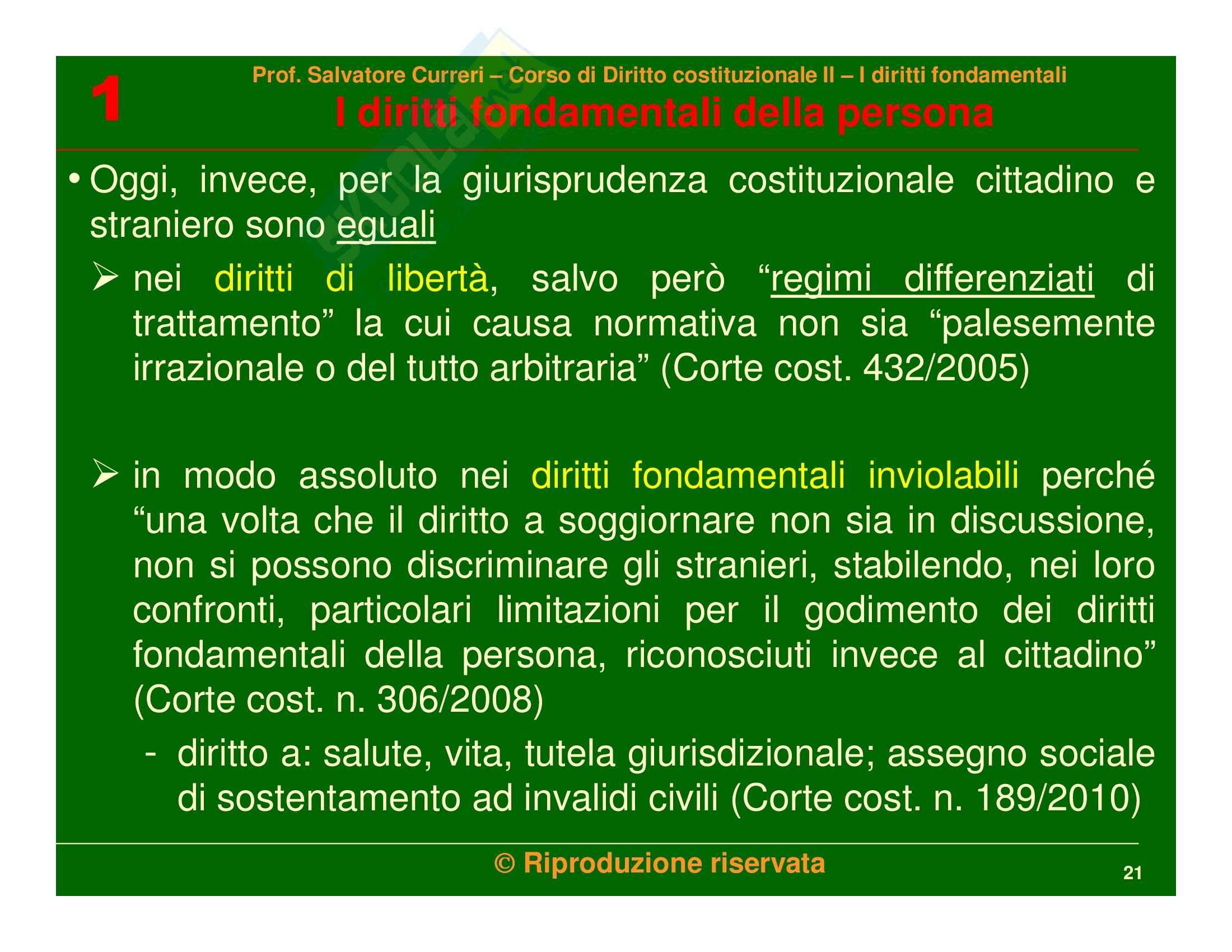 Diritto costituzionale - i diritti fondamentali della persona Pag. 21